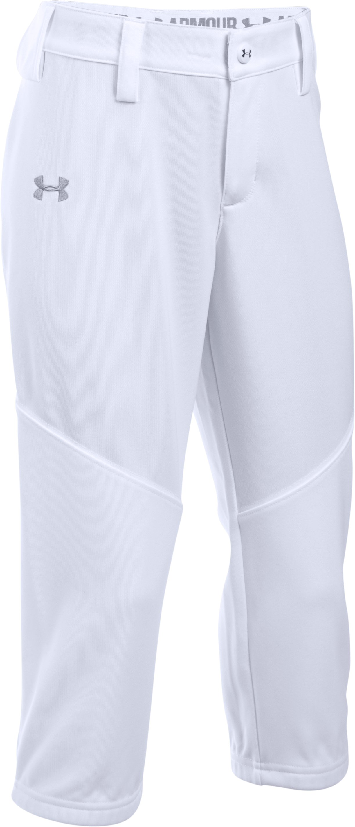 Girls' UA Base Runner Softball Pants, White, zoomed image