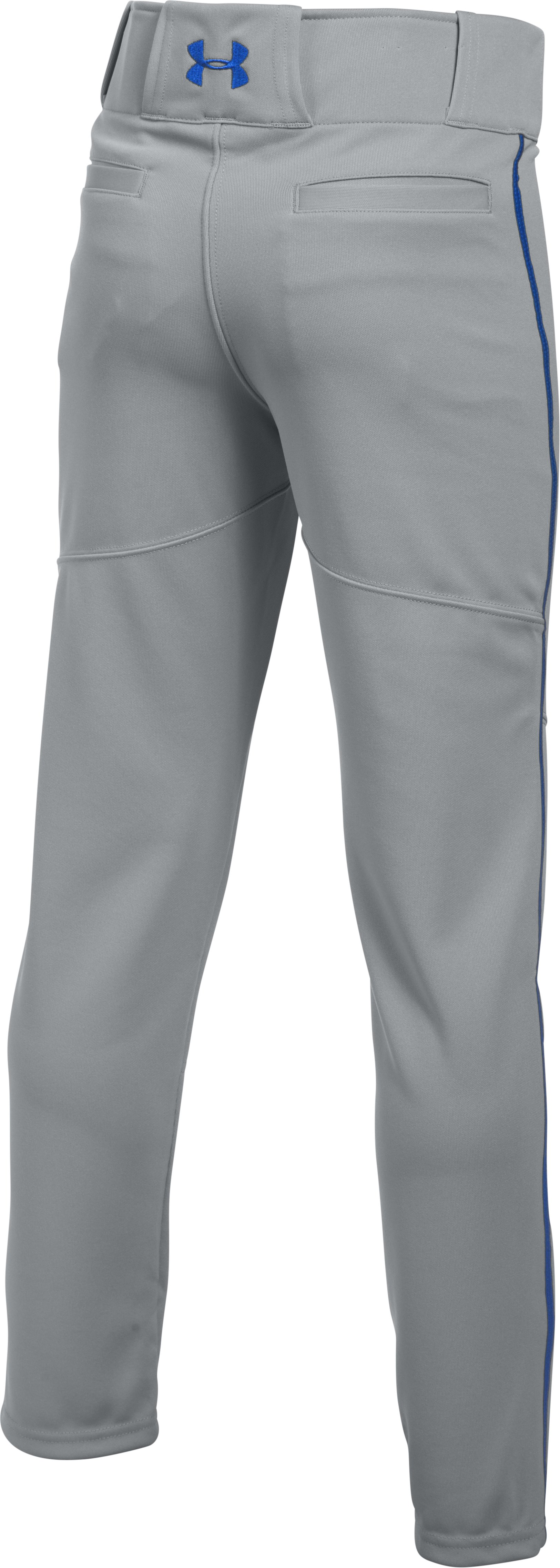 Boys' UA Heater Piped Baseball Pants, Baseball Gray