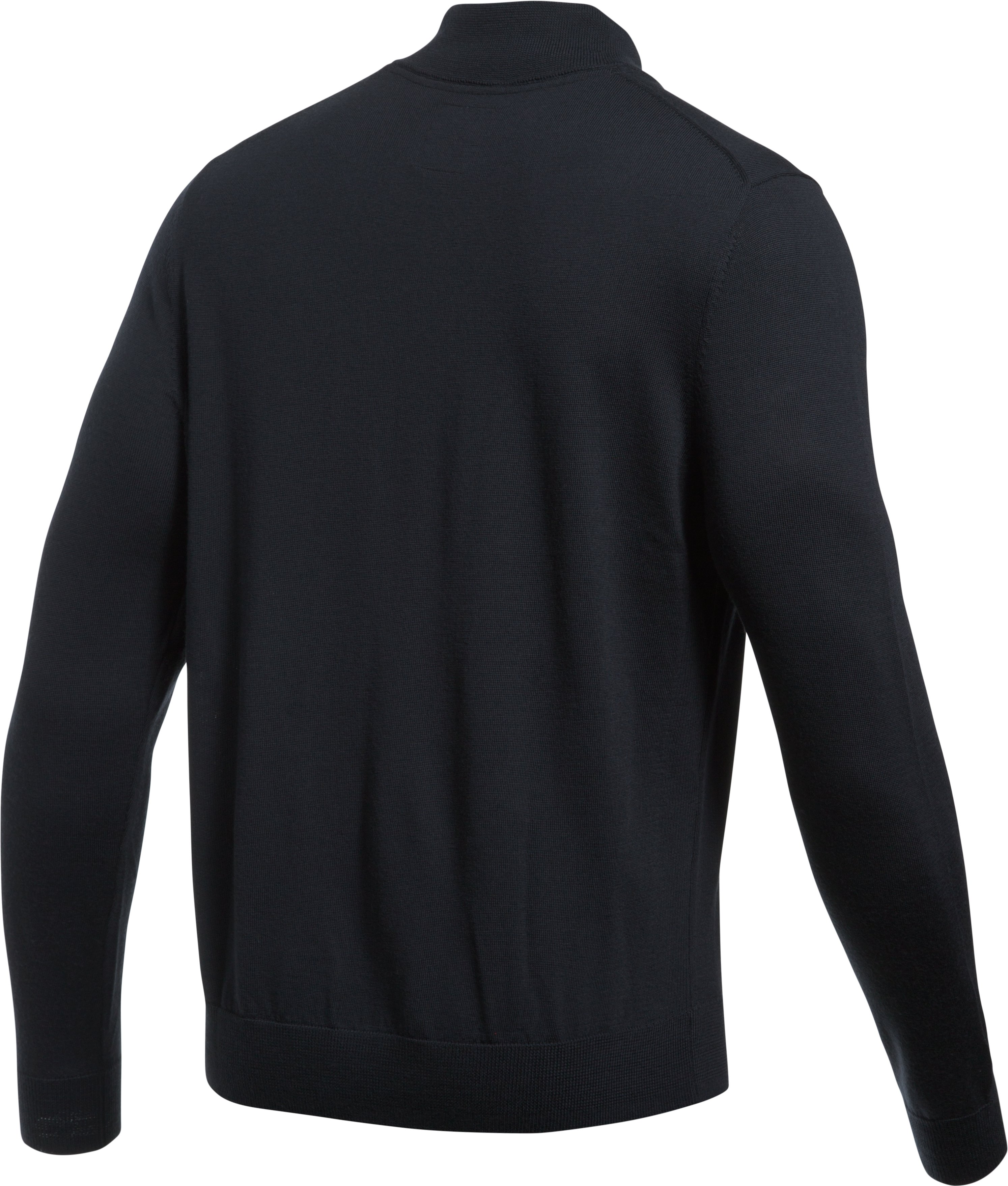 Men's UA Tips ¼ Zip Sweater, Black ,