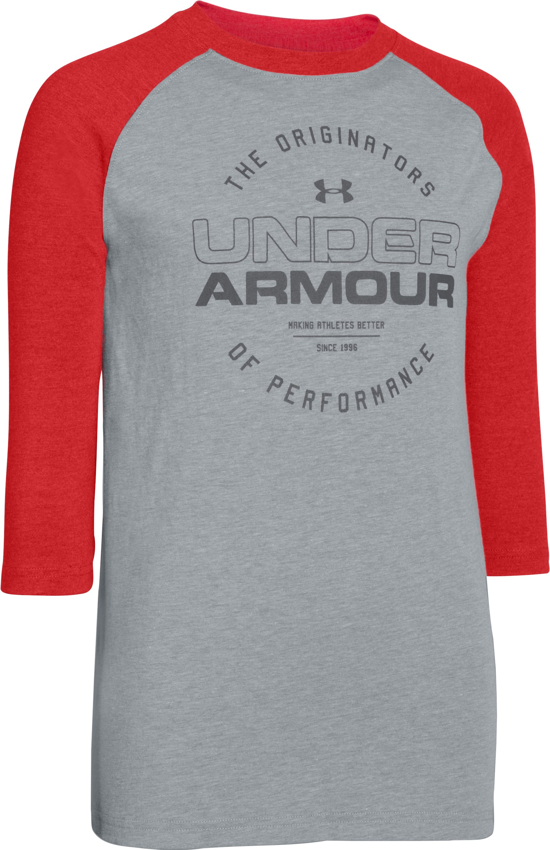 Boys' UA Link ¾ Sleeve Tee, True Gray Heather, zoomed image