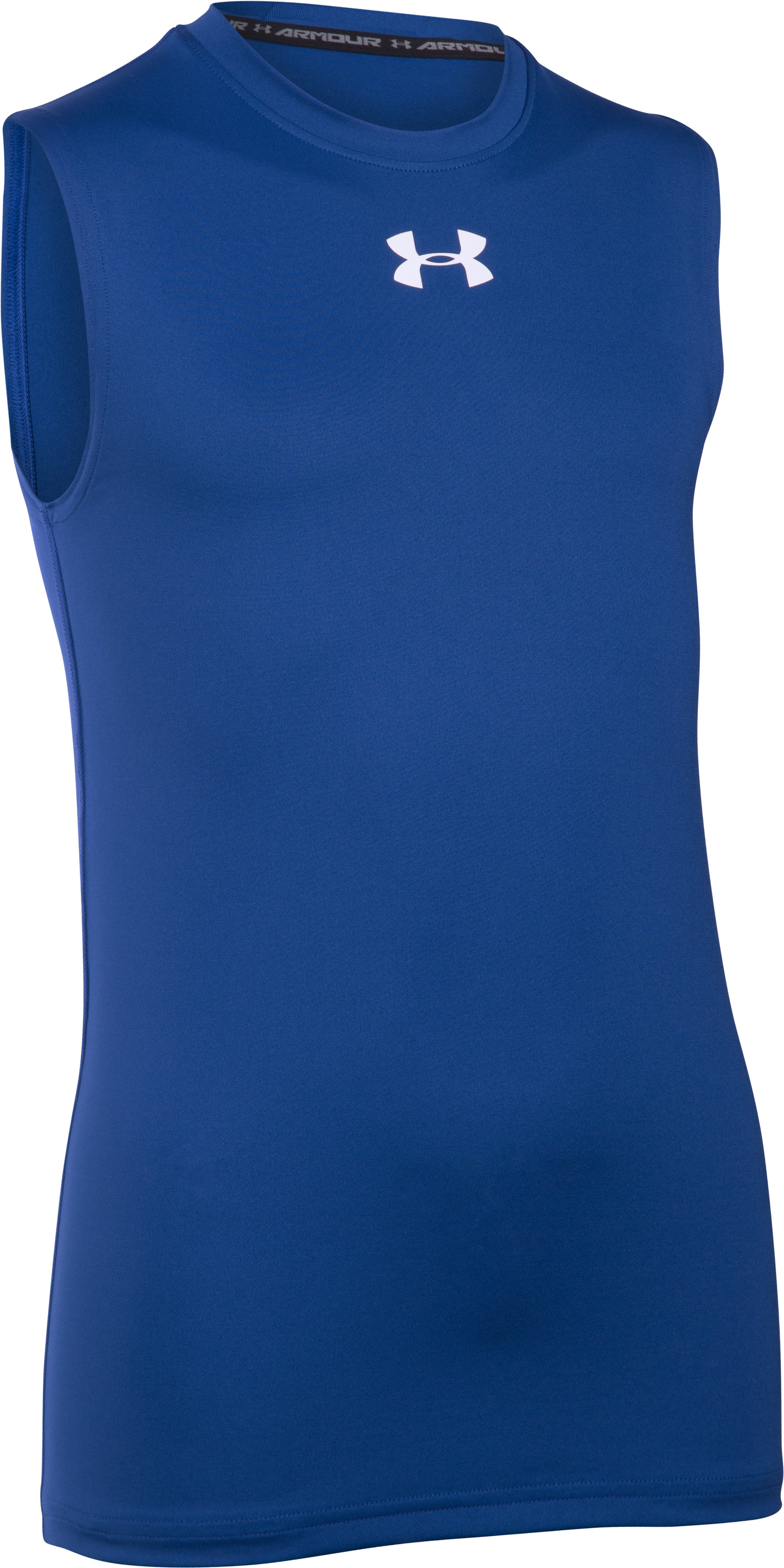 Boys' UA HeatGear® Armour Sleeveless T-Shirt, Royal, zoomed image