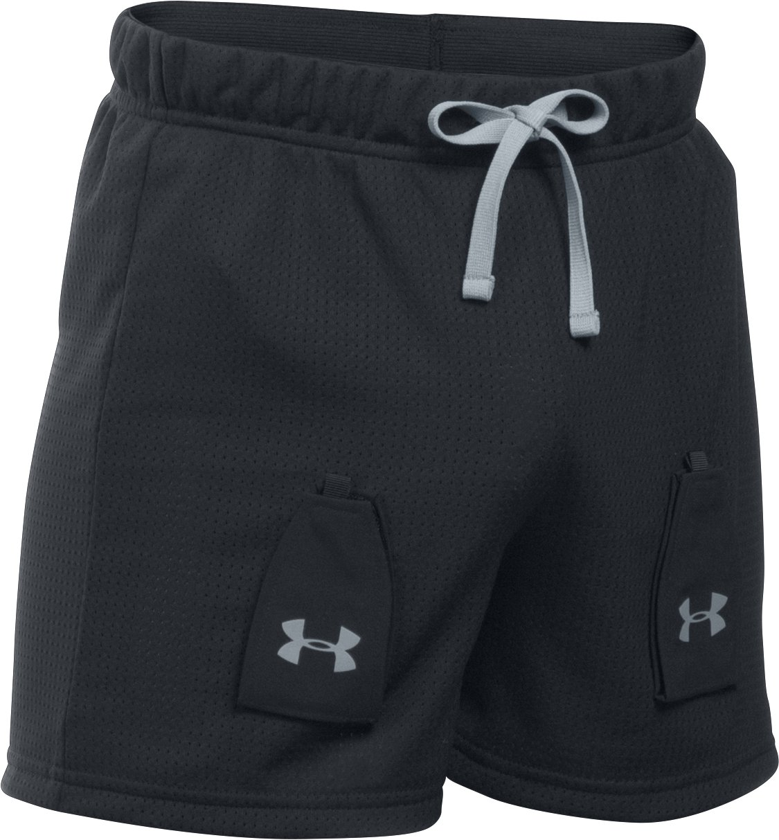 Boys' UA Hockey Mesh Shorts w/ Cup Pocket, Black , undefined