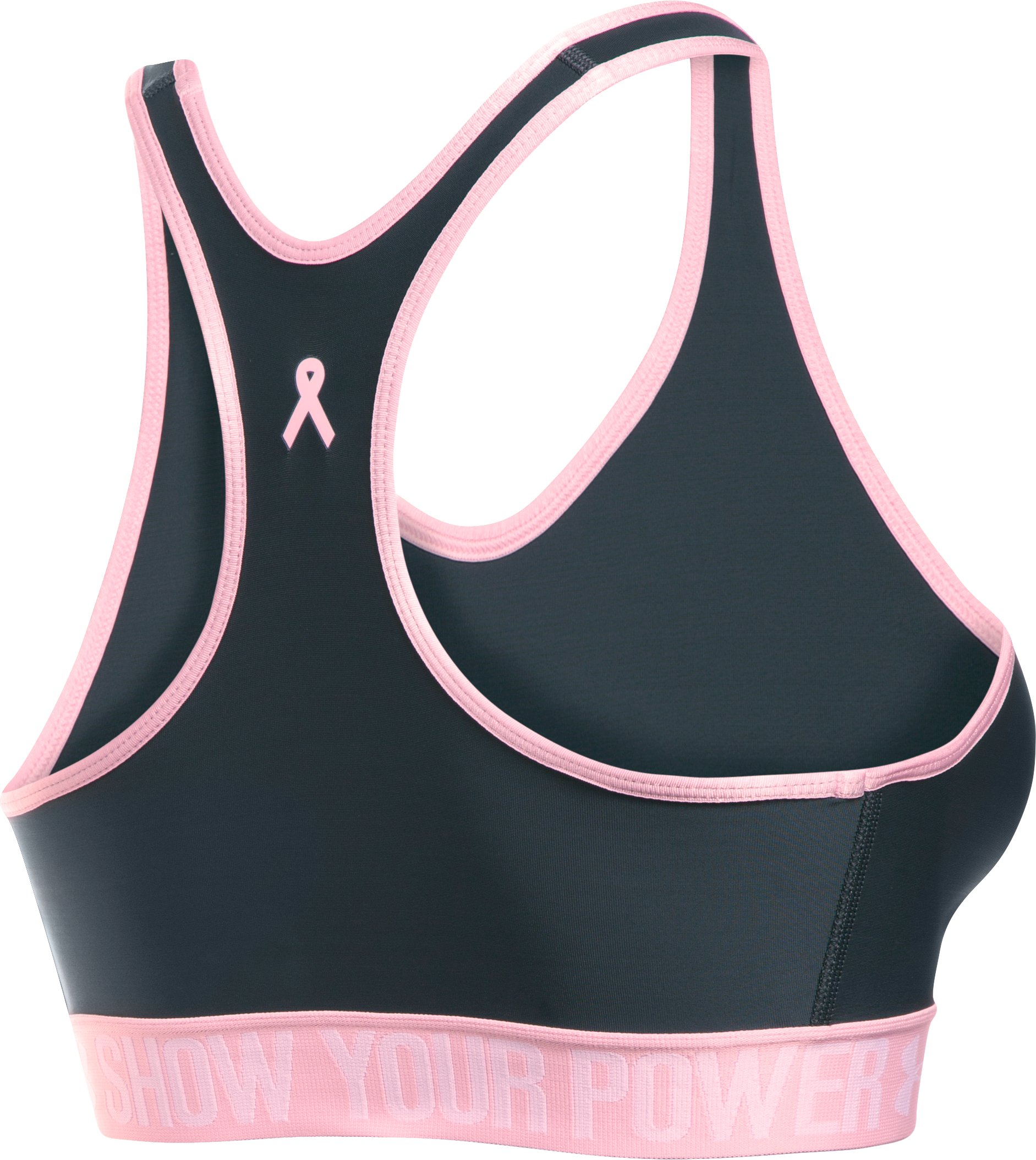 Women's UA Power In Pink® Armour Mid Sports Bra, STEALTH GRAY, undefined