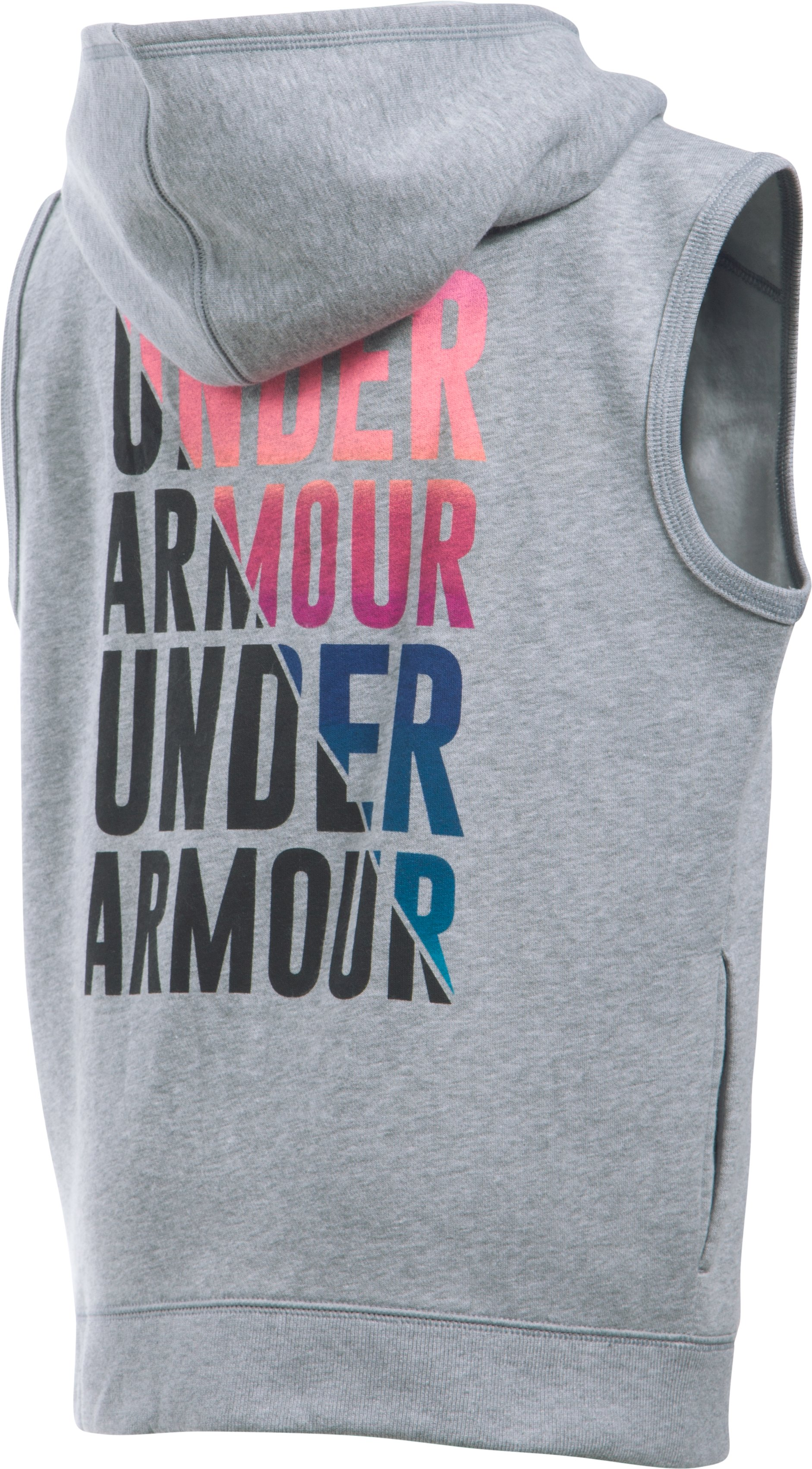 Girls' UA Favorite Fleece Vest, True Gray Heather, zoomed image