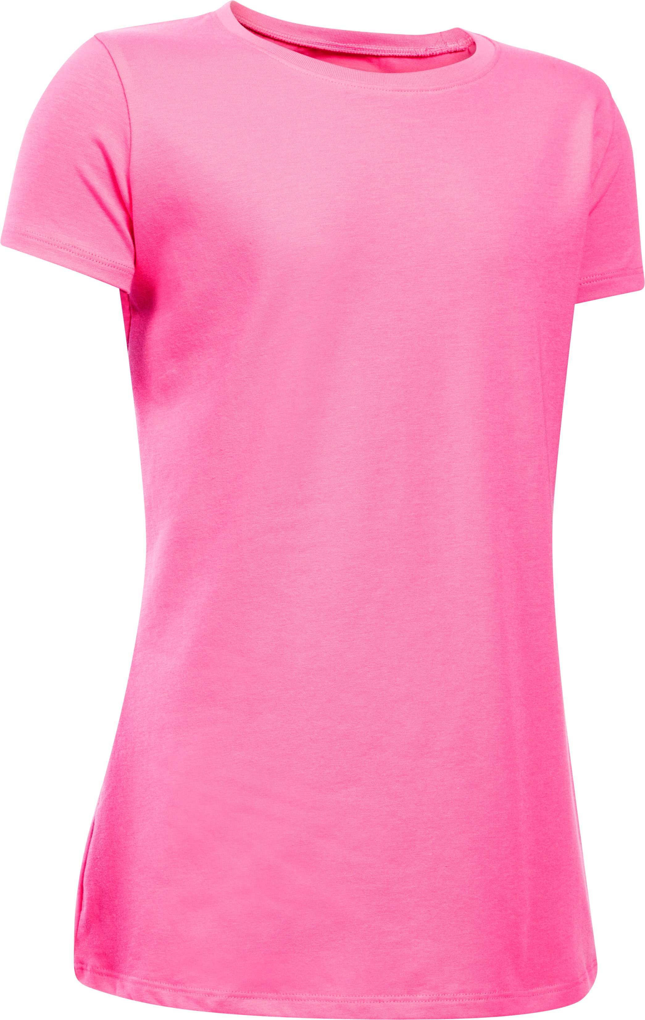 Girls' UA Charged Cotton® T-Shirt, PINK PUNK