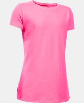 New Arrival  Girls' UA Charged Cotton® T-Shirt LIMITED TIME: FREE SHIPPING 1 Color $22.99