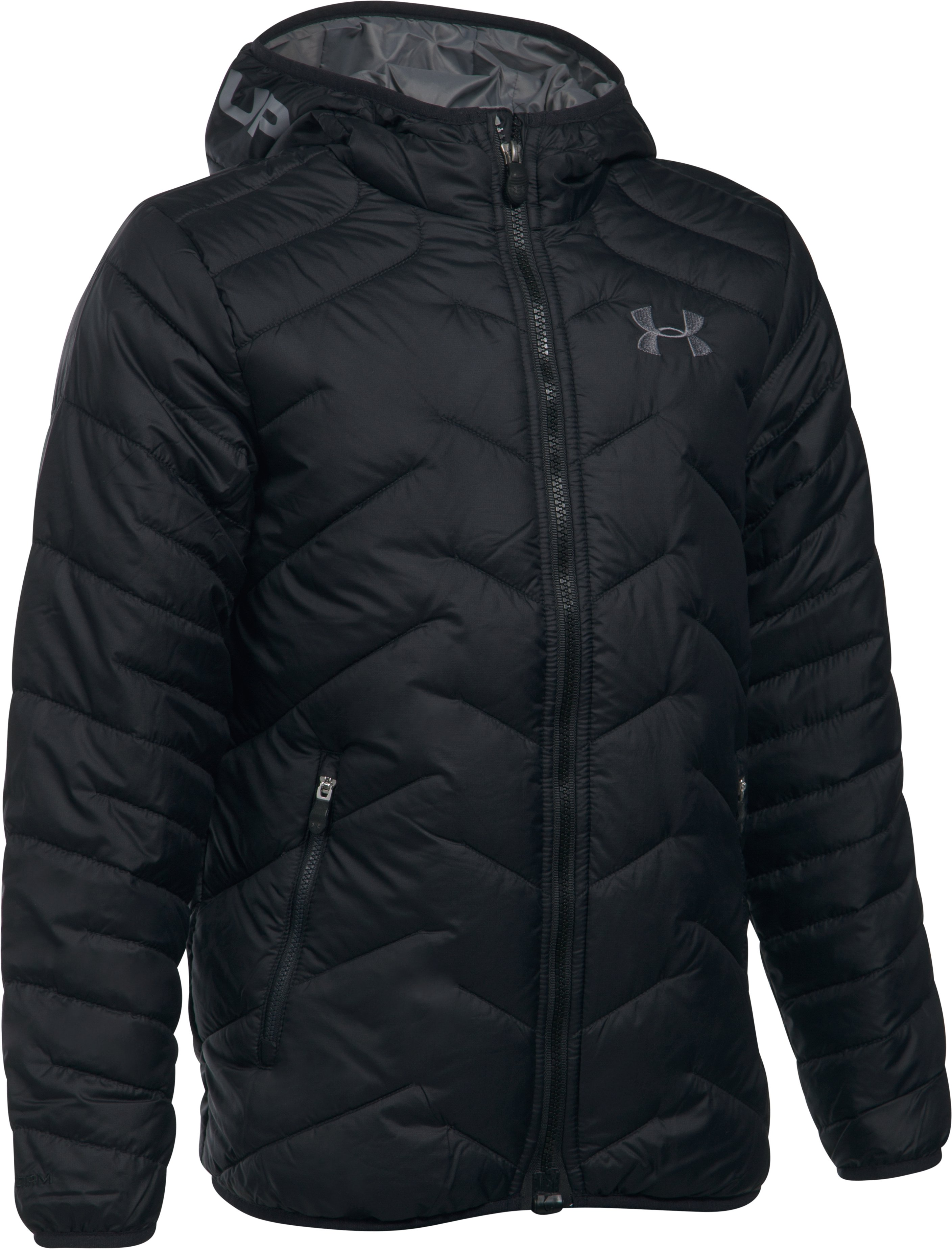 Boys' ColdGear® Reactor Hooded Jacket, Black , undefined