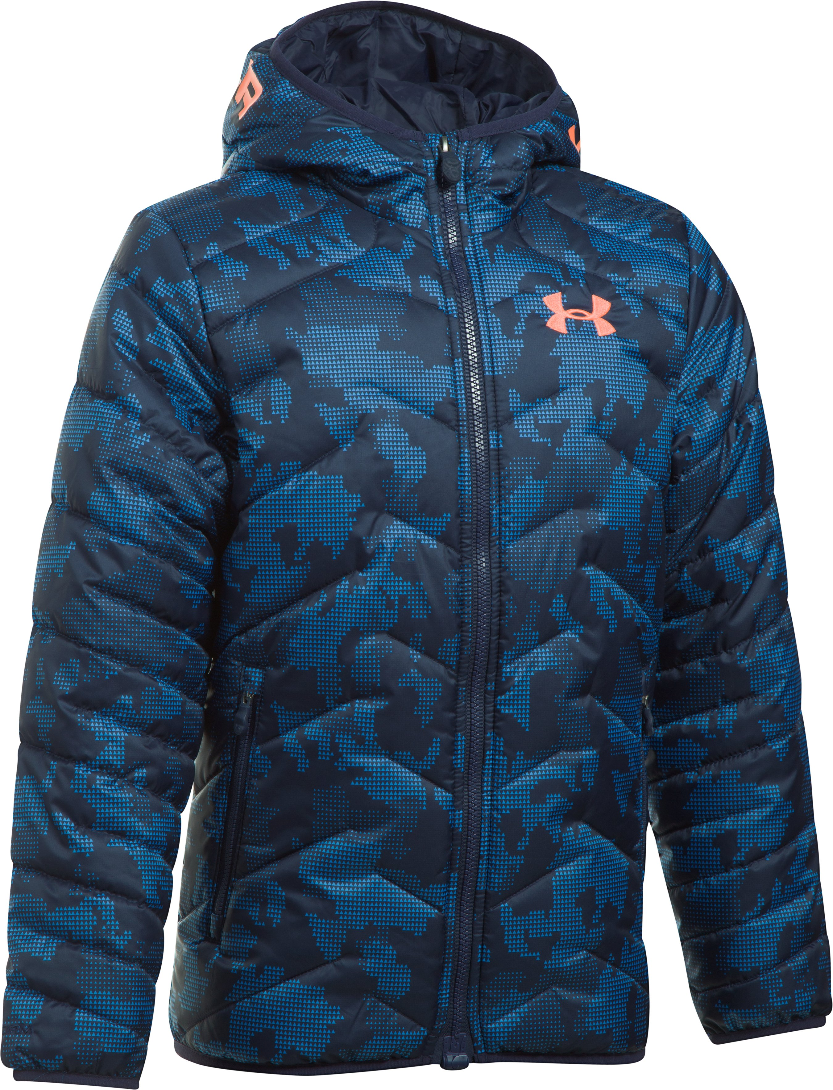 Boys' ColdGear® Reactor Hooded Jacket, Midnight Navy,
