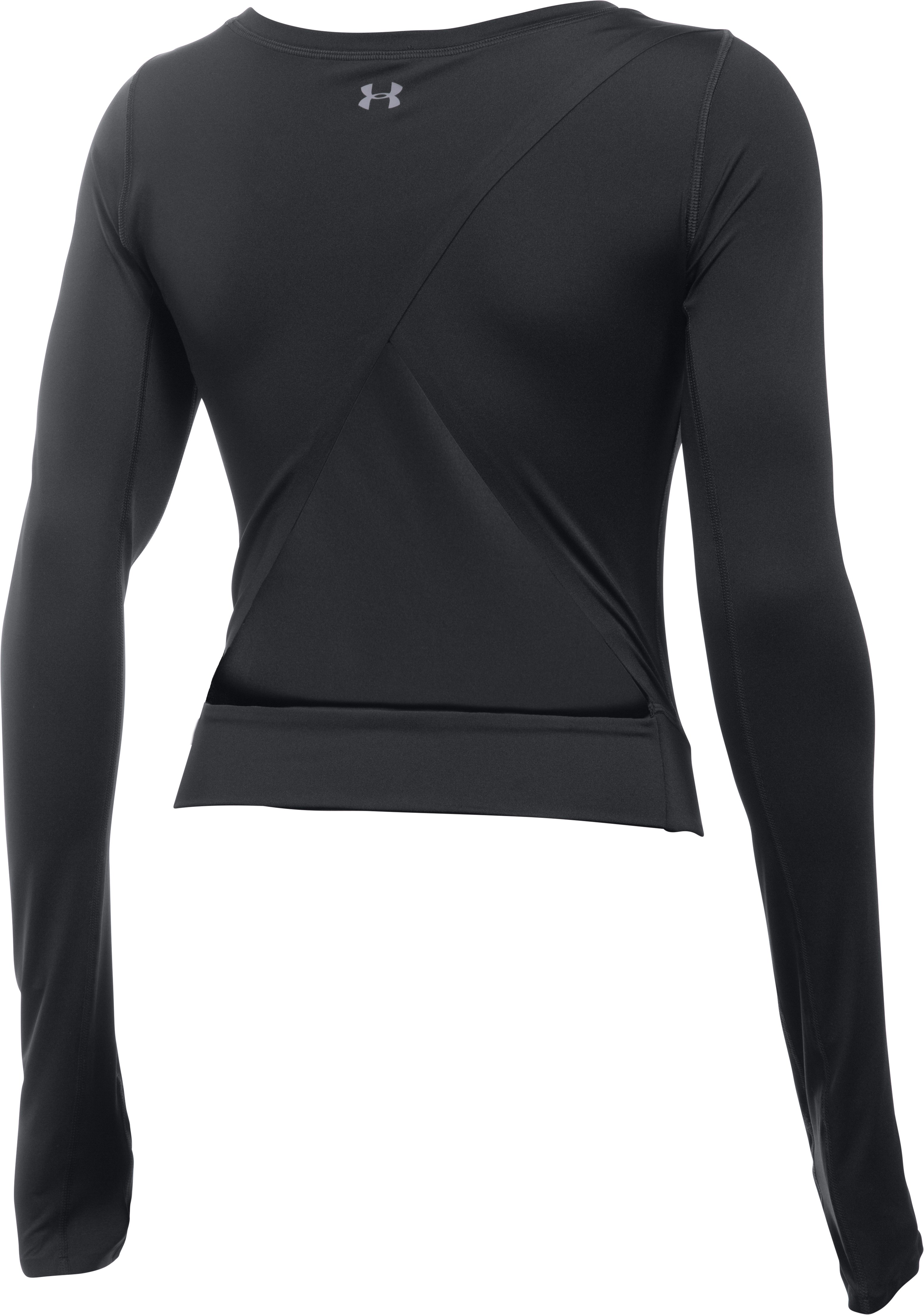 Women's UA Wishbone Long Sleeve Crop, Black , undefined