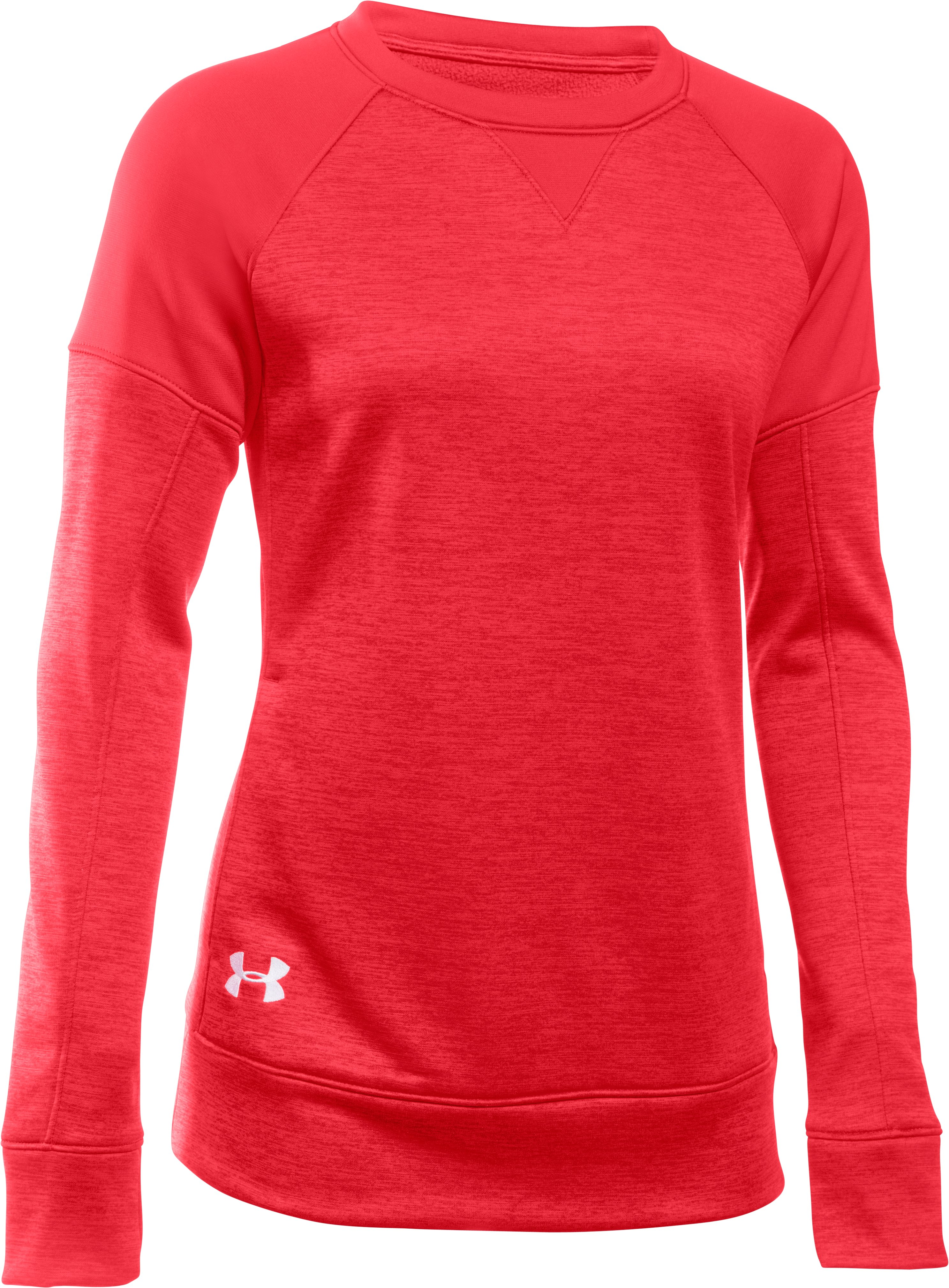 Women's  Armour Fleece® Textured Long Sleeve Crew, Red, undefined