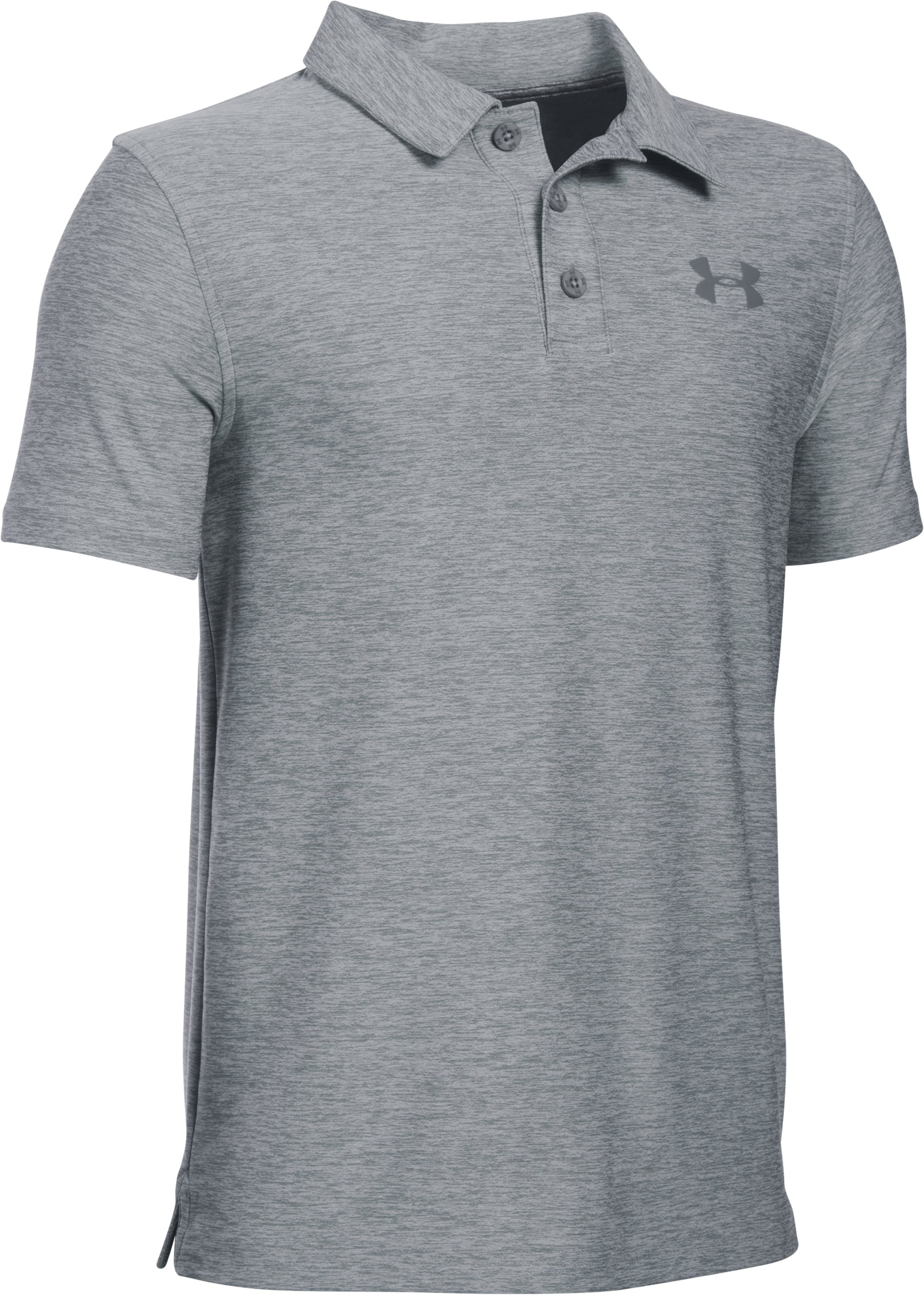 Boys' UA Playoff Polo, True Gray Heather, zoomed image