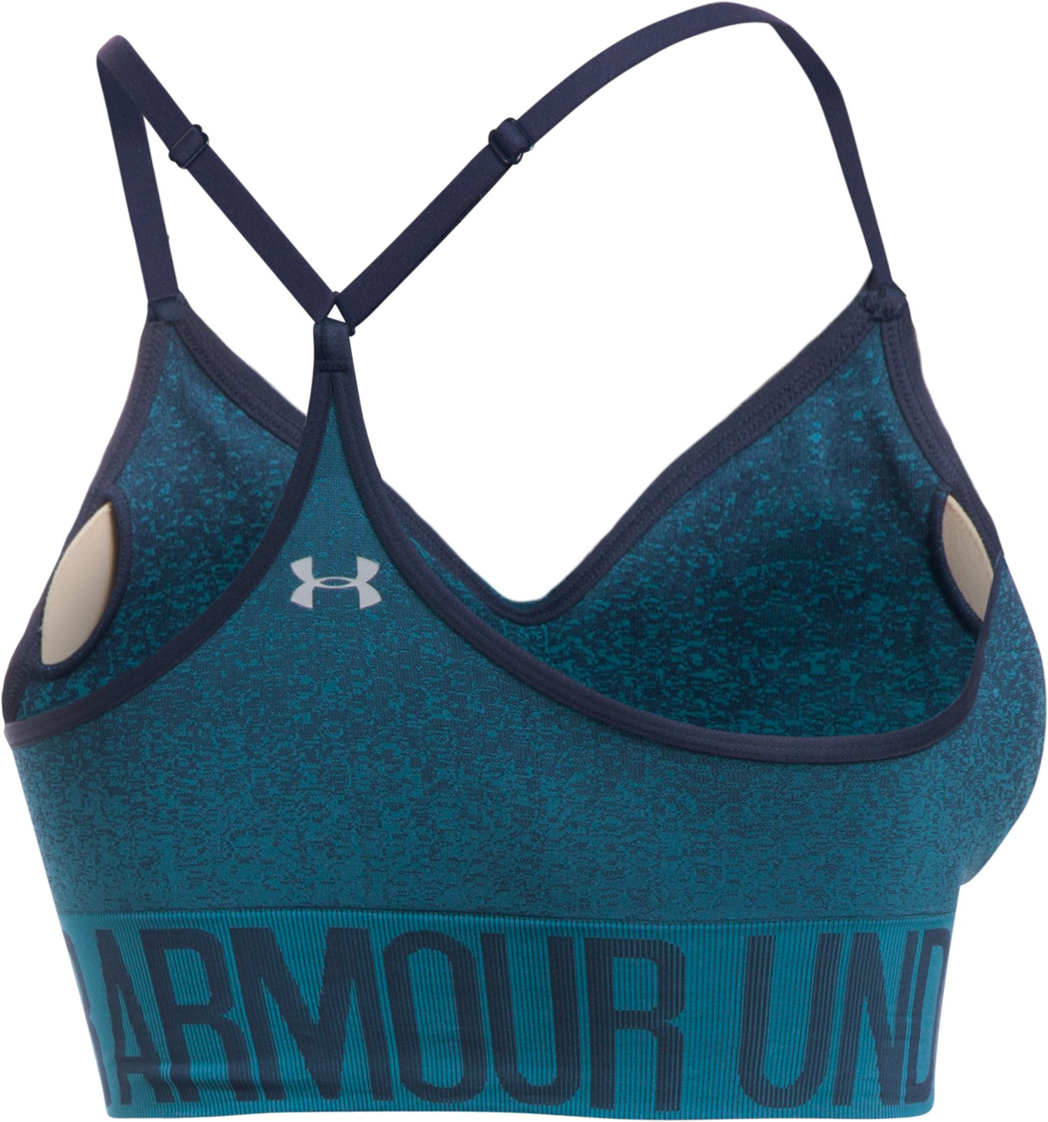 Women's Armour® Seamless Ombre Printed Sports Bra, Midnight Navy, undefined