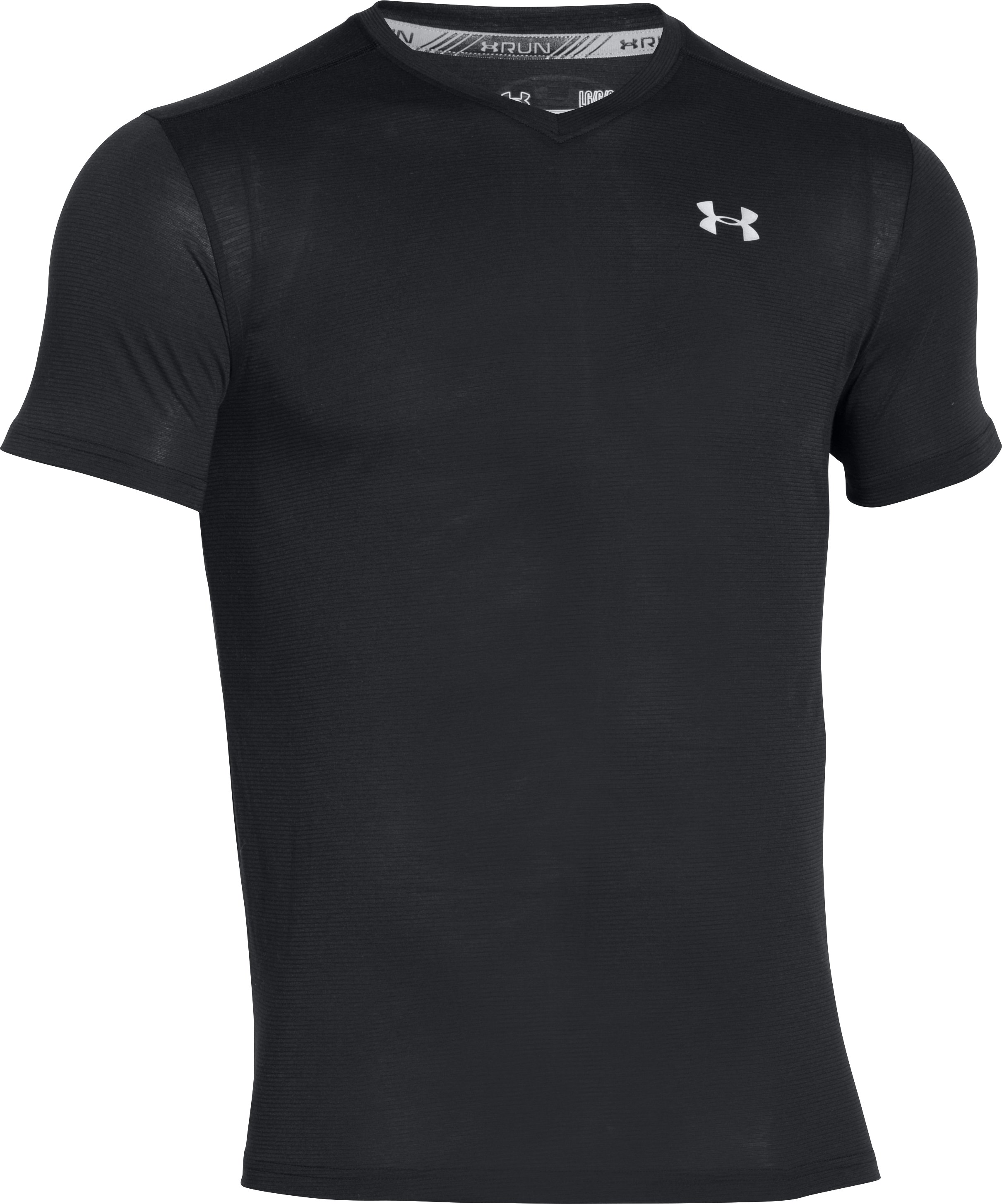 Men's UA Streaker V-Neck, Black ,
