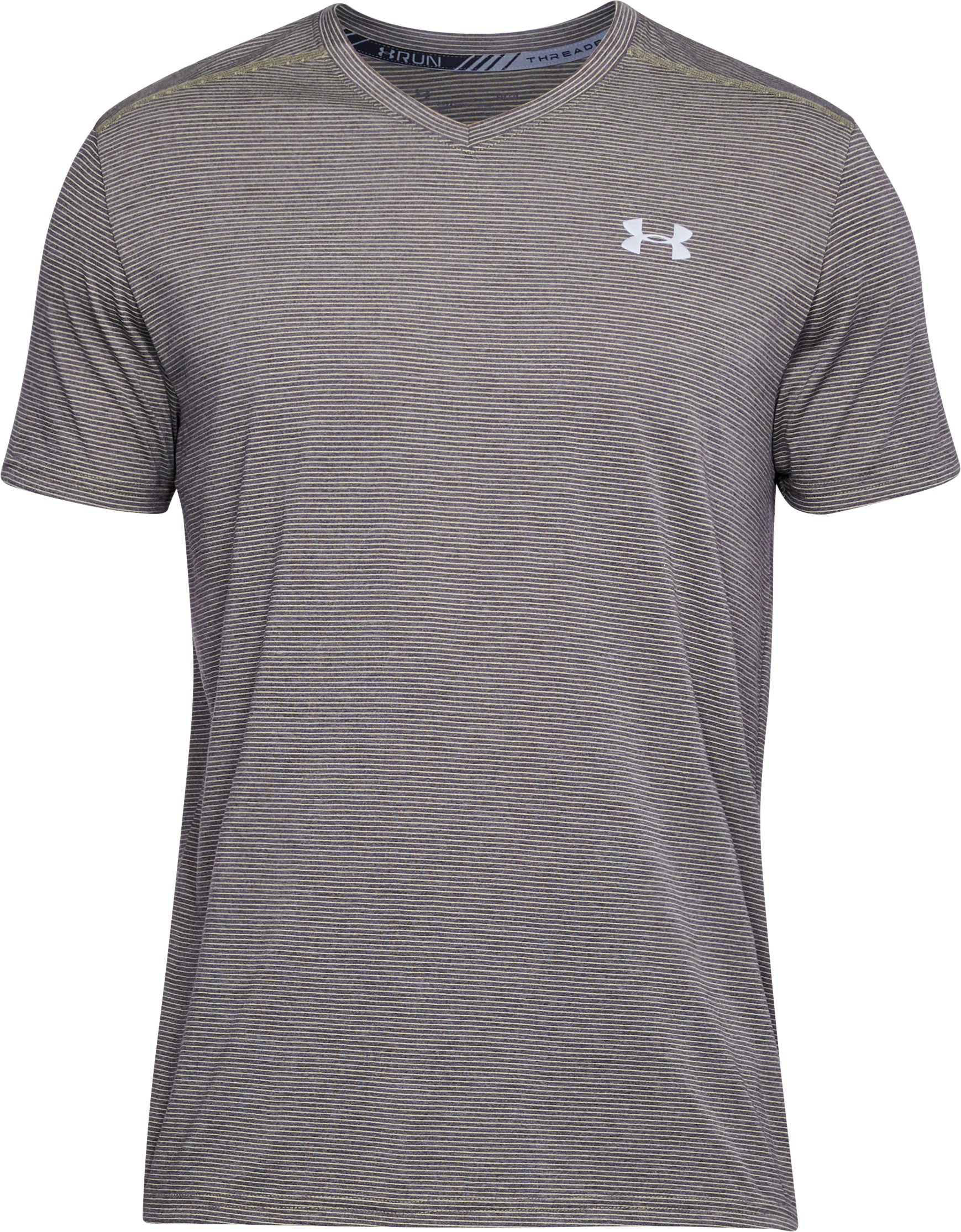 Men's UA Threadborne Streaker V-Neck, CHARCOAL LIGHT HEATHER, undefined