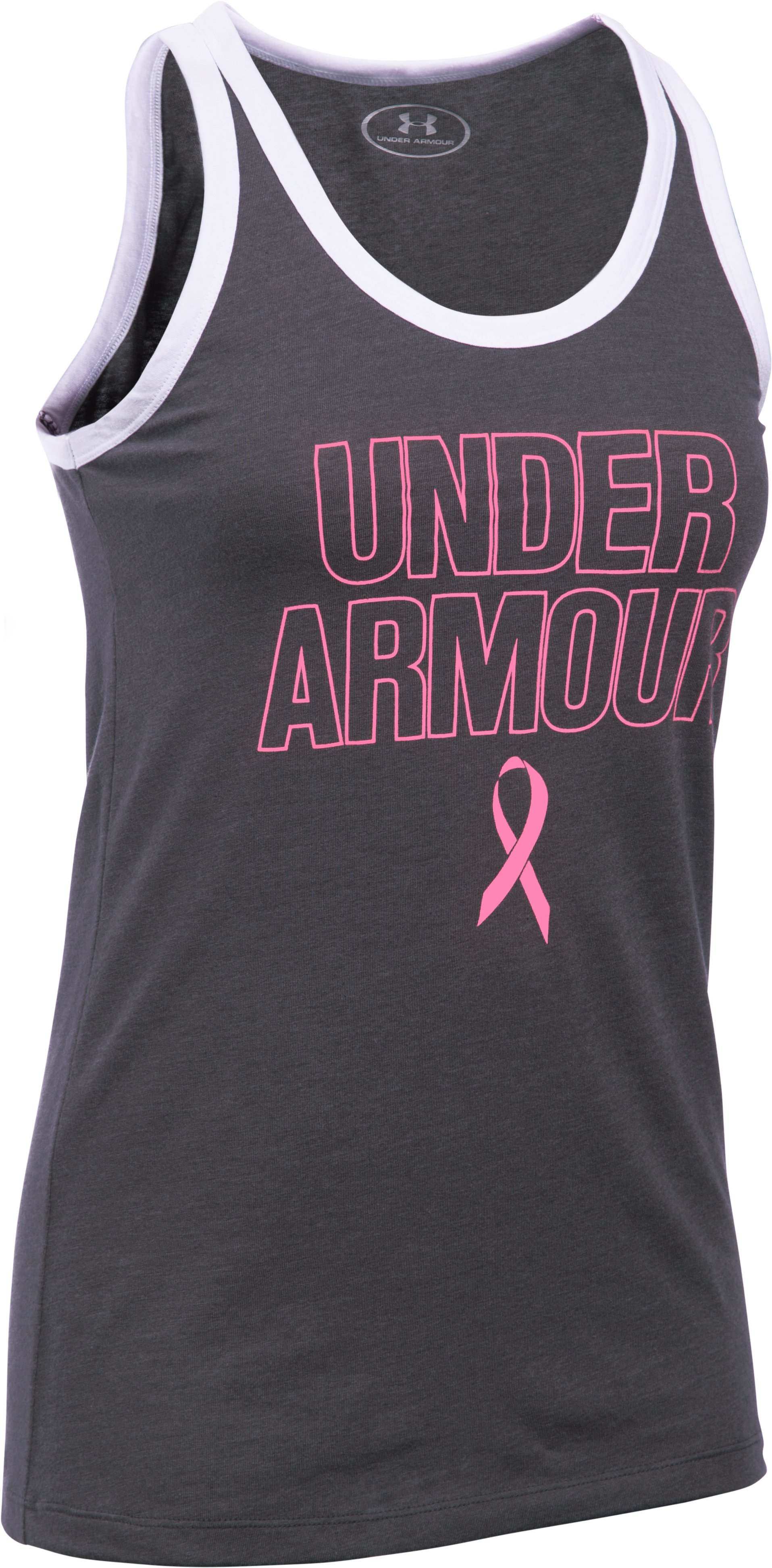 UA Power In Pink® Charged Cotton® Tri-Blend Under Armour Tank, Carbon Heather,
