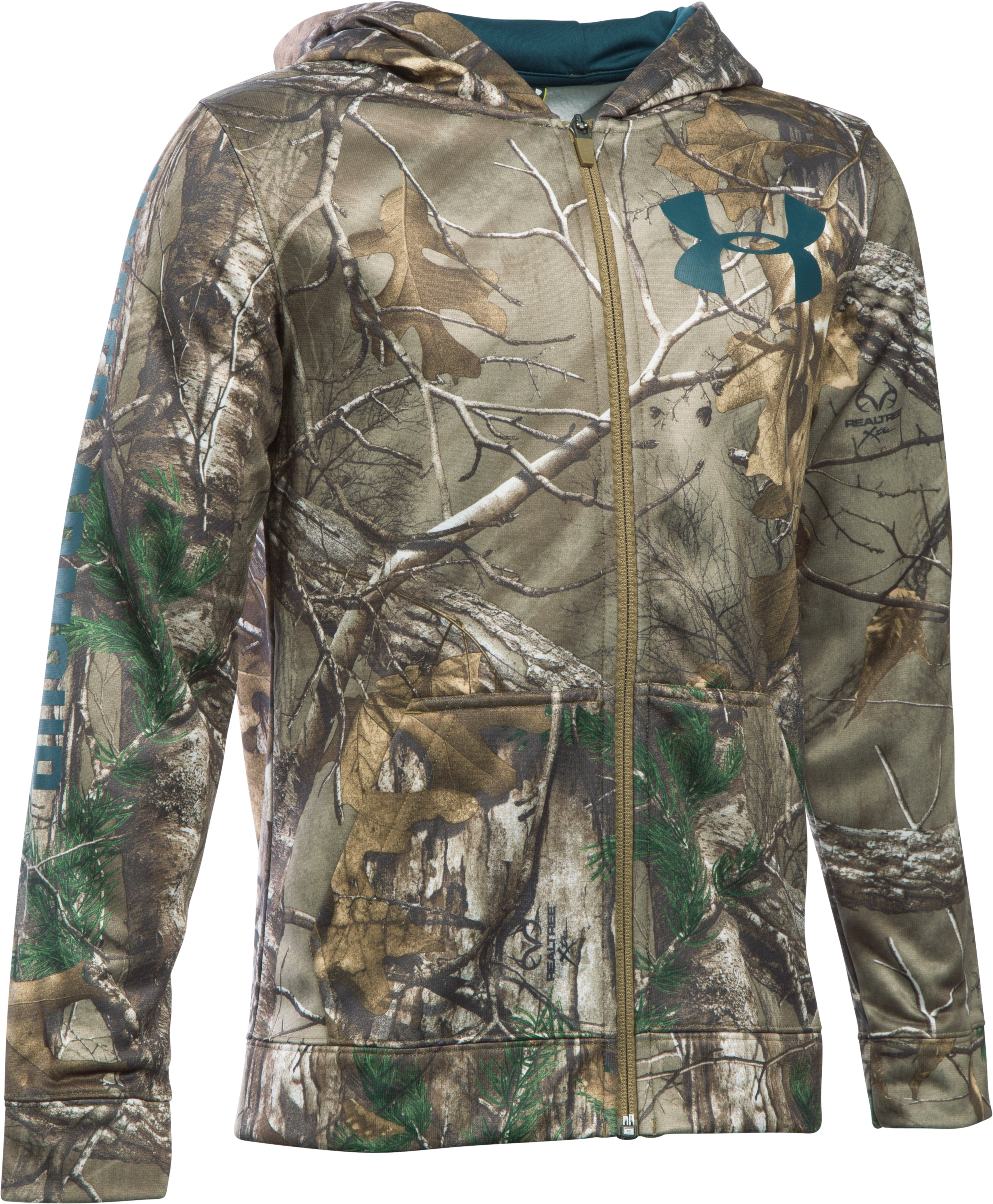 Boys' UA Storm Armour® Fleece Camo Full Zip Hoodie, REALTREE MAX 5, zoomed image