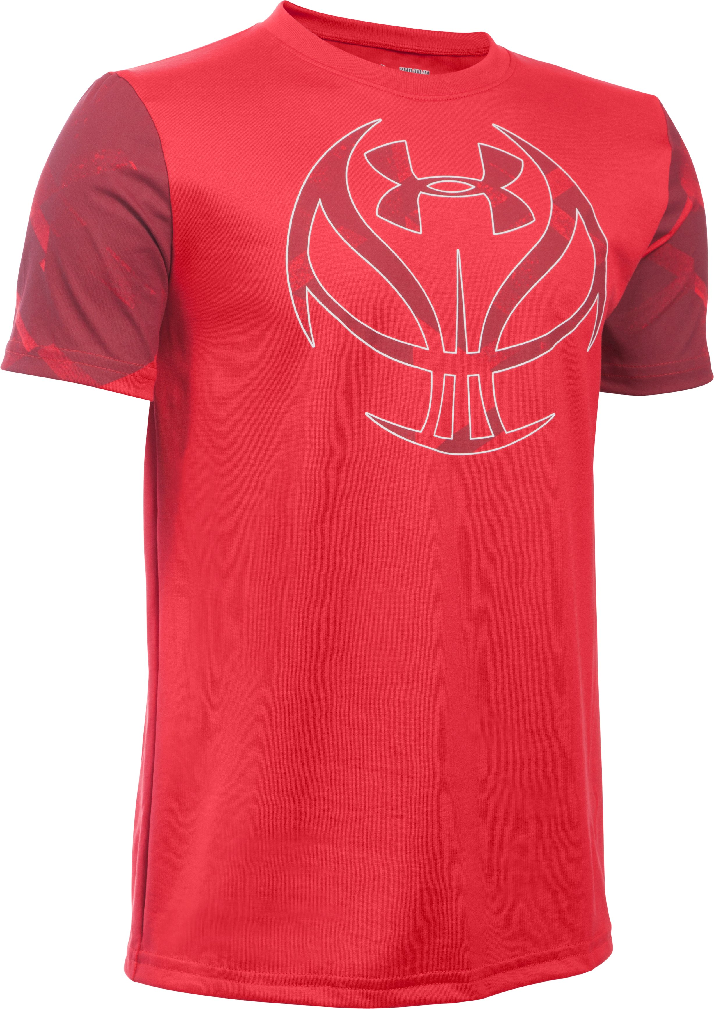 Boys' UA Basketball Logo Printed T-Shirt, Red, zoomed image