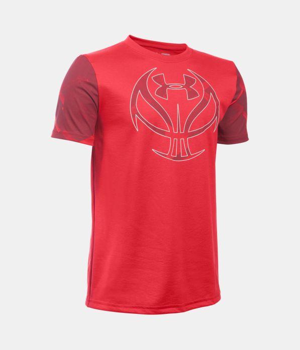 Boys 39 ua basketball logo printed t shirt under armour us for Printed under armour shirts