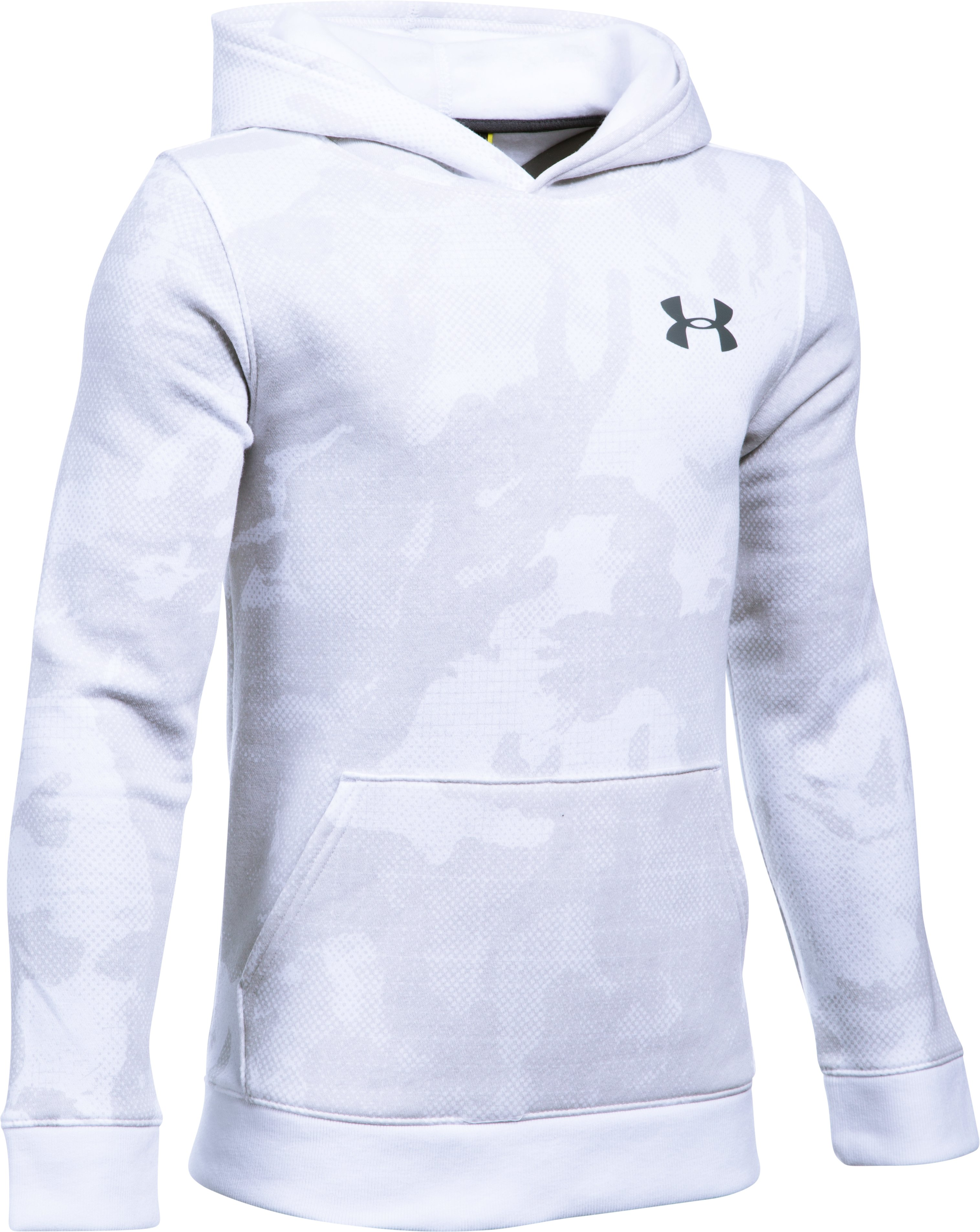 Boys' UA Sportstyle Fleece Printed Hoodie, White, undefined