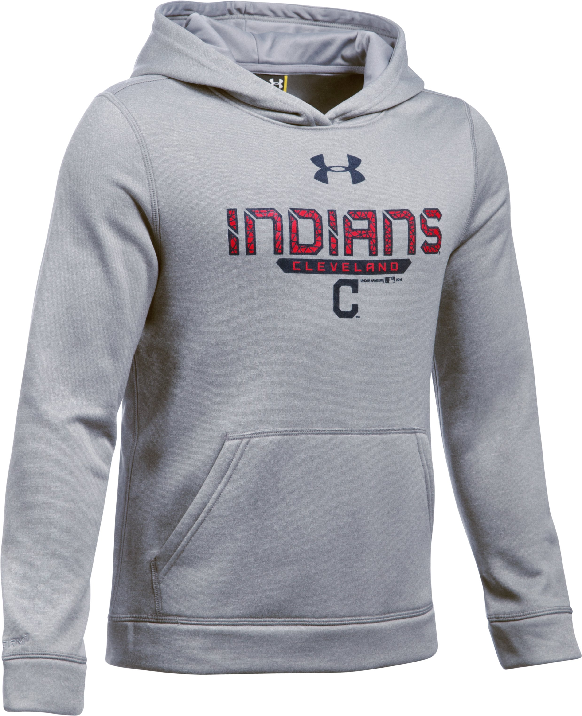 Boys' Cleveland Indians UA Storm Armour® Fleece Hoodie, True Gray Heather, zoomed image