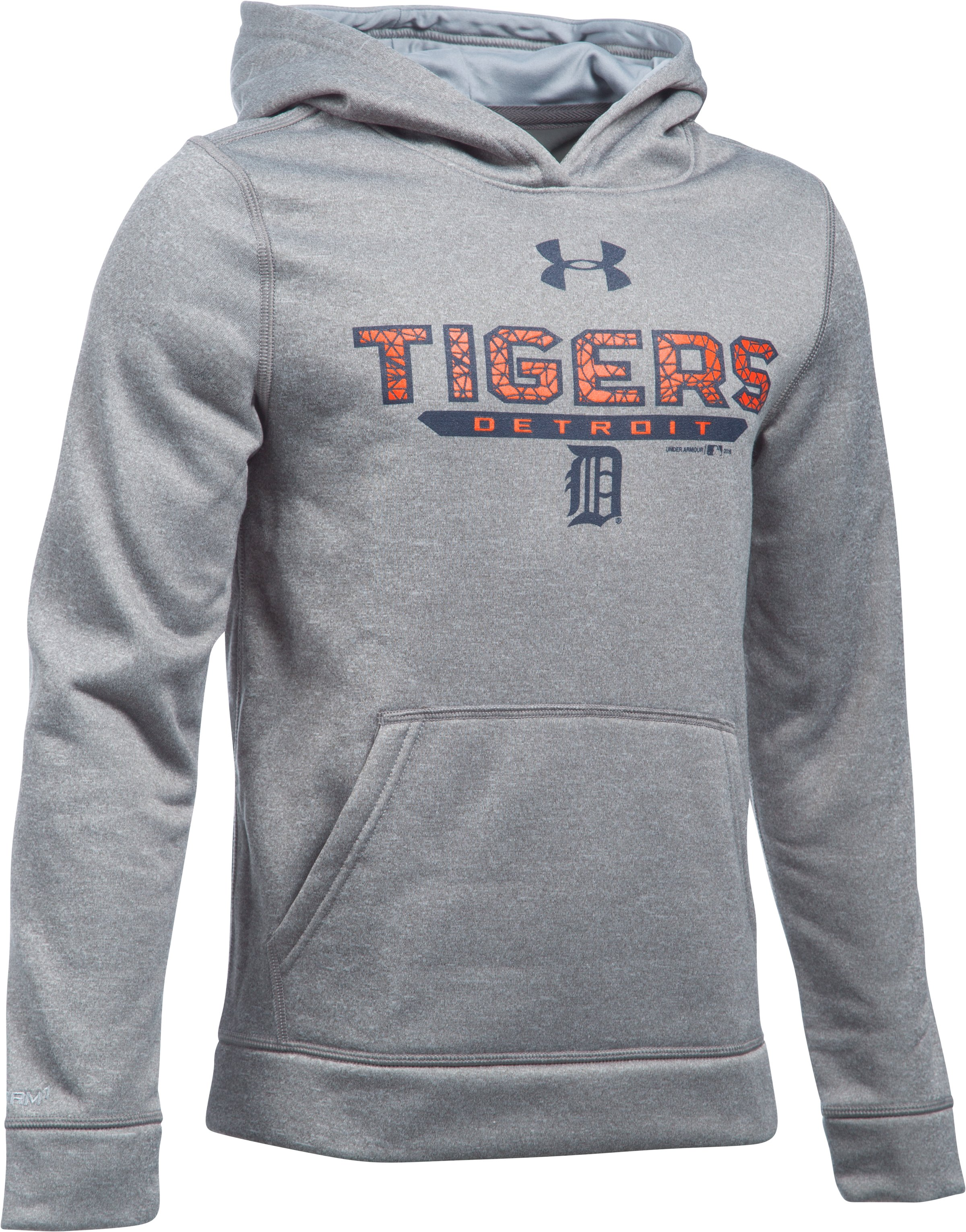Boys' Detroit Tigers UA Storm Armour Fleece® Hoodie, True Gray Heather