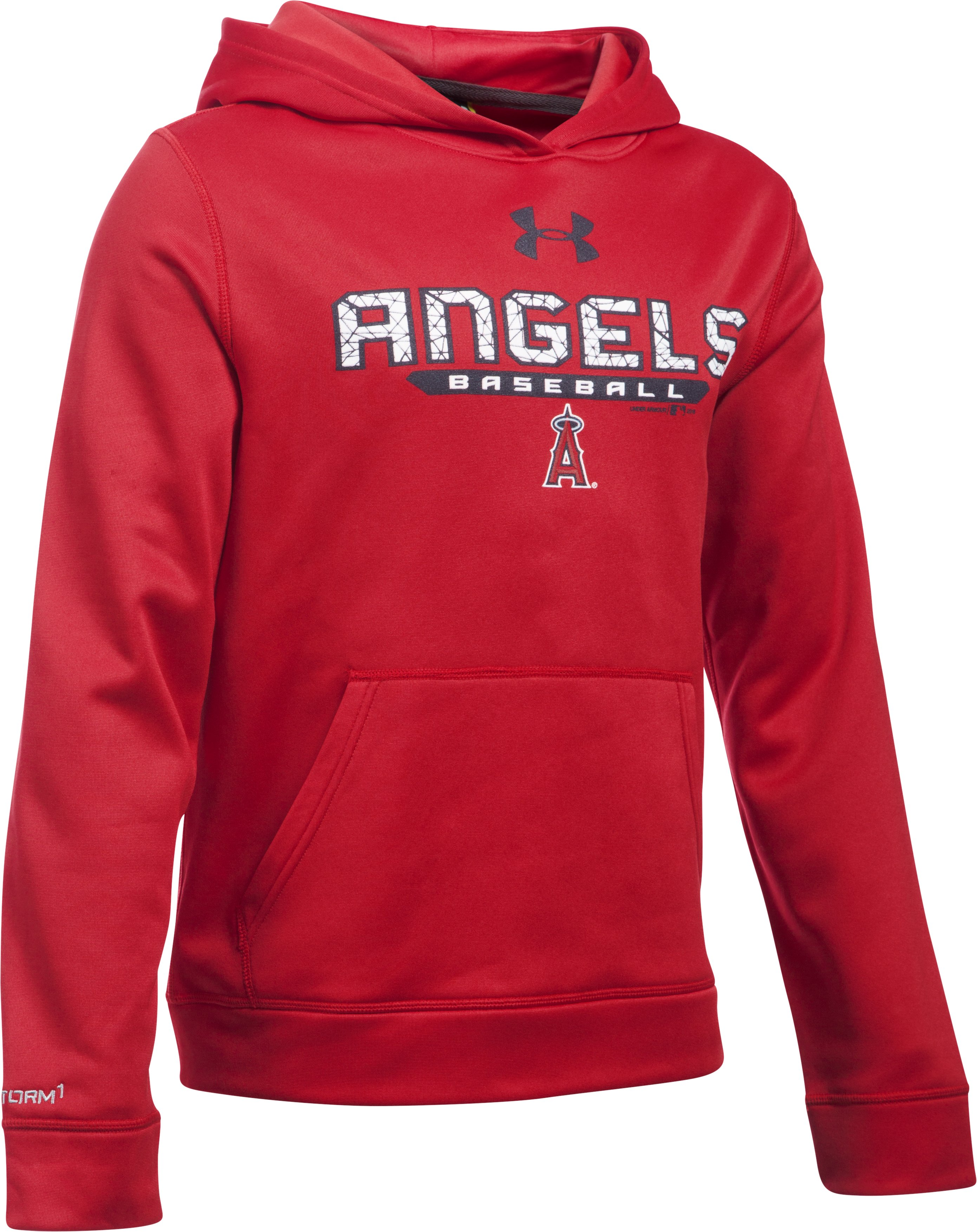Boys' Los Angeles Angels UA Storm Armour® Fleece Hoodie, Red, zoomed image