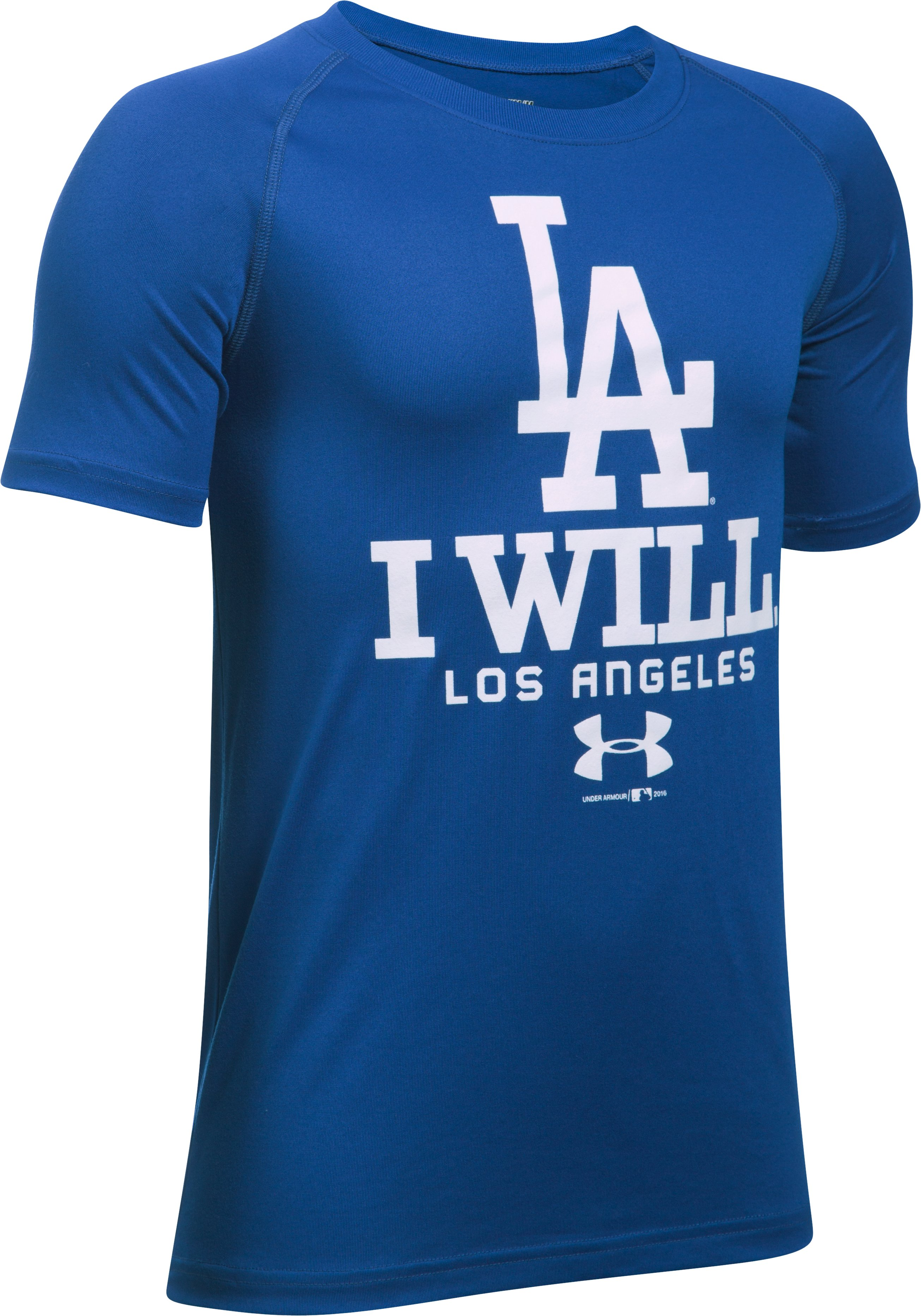 Boys' Los Angeles Dodgers I Will UA Tech™ T-Shirt, Royal, undefined
