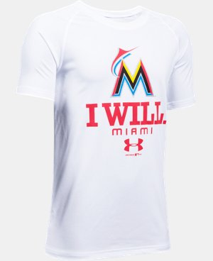 New Arrival Boys' Miami Marlins I Will UA Tech™ T-Shirt  1 Color $24.99