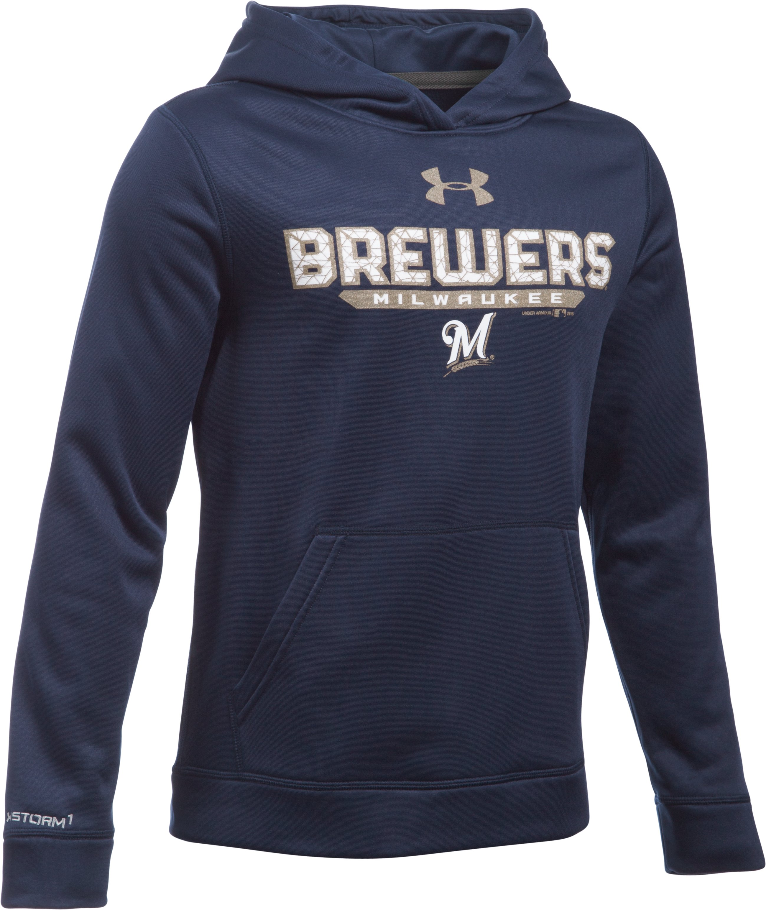 Boys' Milwaukee Brewers UA Storm Armour® Fleece Hoodie, Midnight Navy, zoomed image