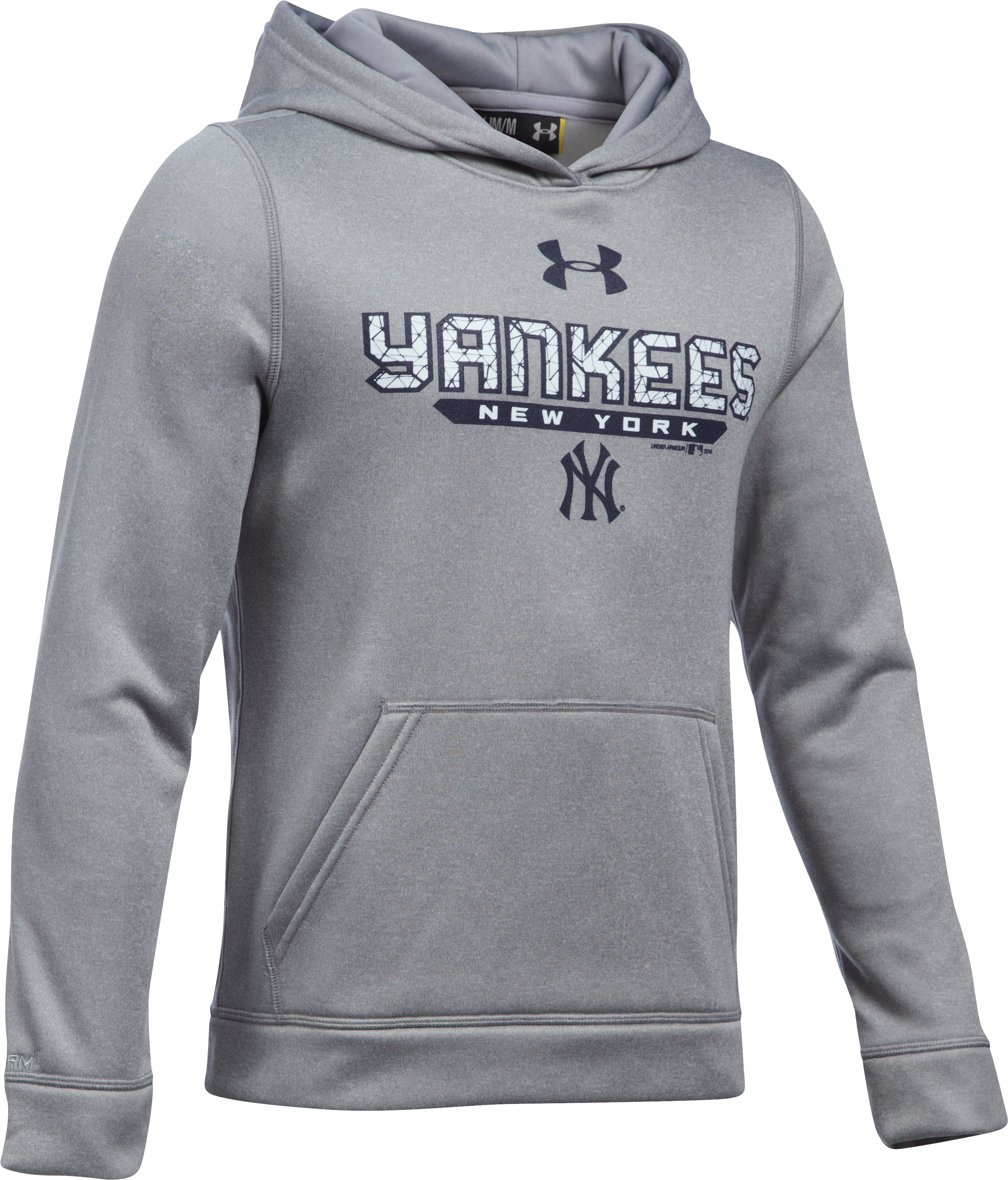 Boys' New York Yankees UA Storm Armour Fleece® Hoodie, True Gray Heather
