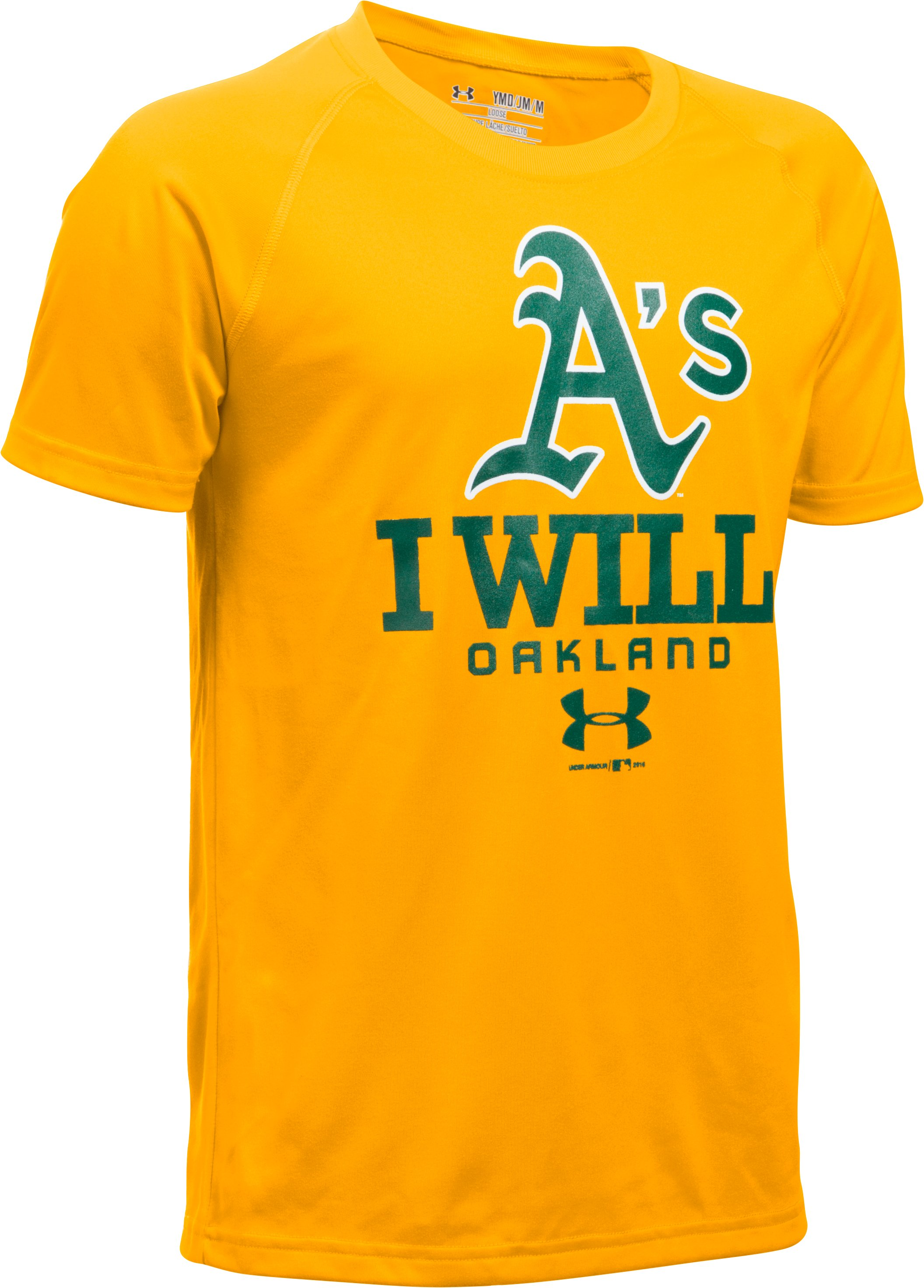 Boys' Oakland Athletics I Will UA Tech™ T-Shirt, Steeltown Gold, undefined