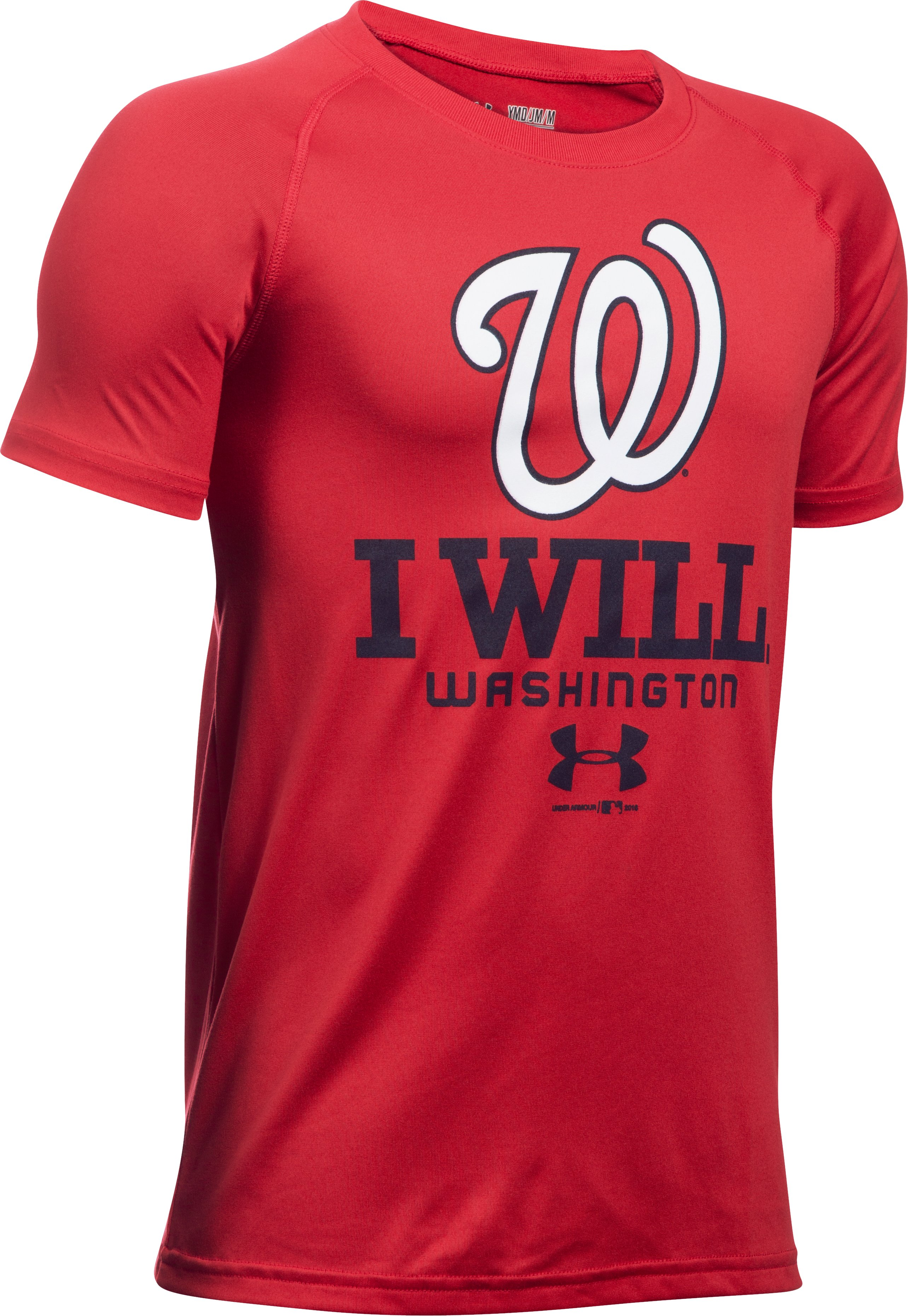 Boys' Washington Nationals I Will UA Tech™ T-Shirt, Red, undefined