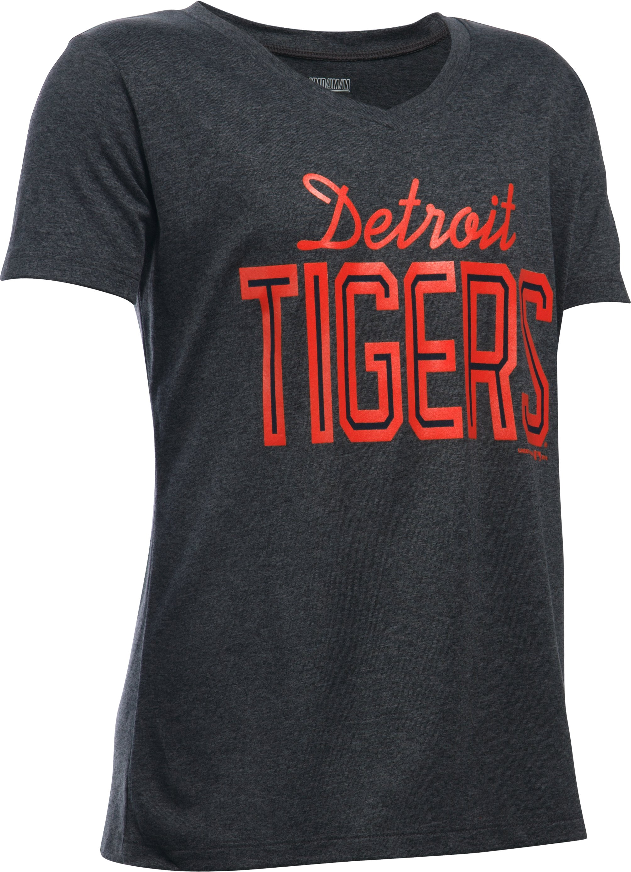 Girls' Detroit Tigers UA Tech™ T-Shirt, Carbon Heather,