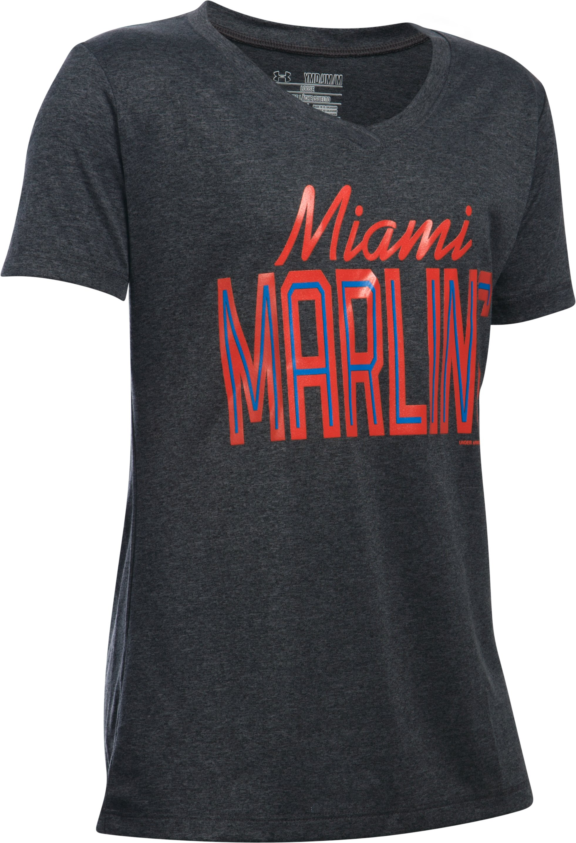 Girls' Miami Marlins UA Tech™ T-Shirt, Carbon Heather,