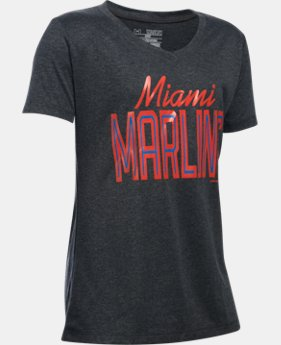 Girls' Miami Marlins UA Tech™ T-Shirt   $18.99