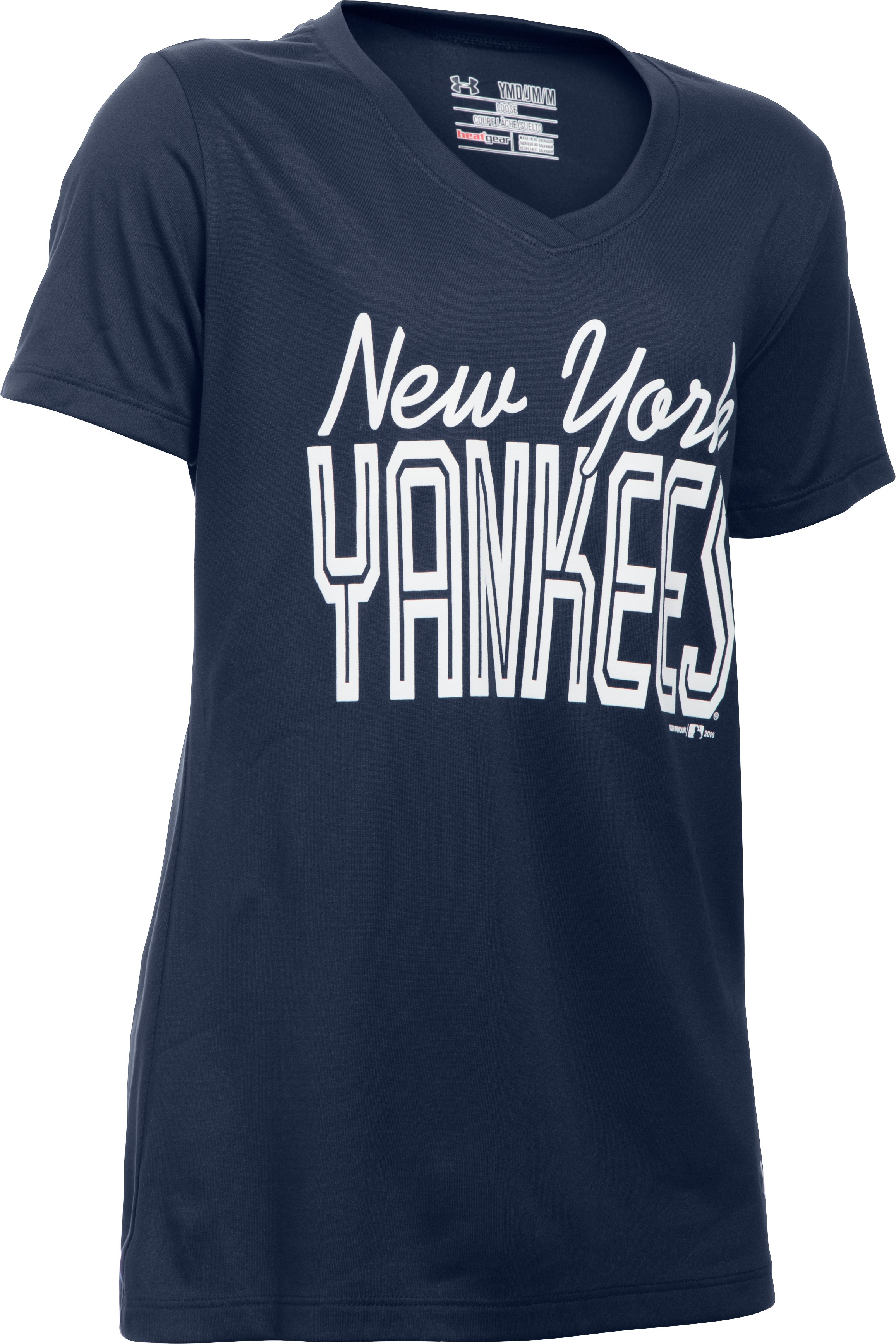 Girls' New York Yankees UA Tech™ T-Shirt, Midnight Navy,