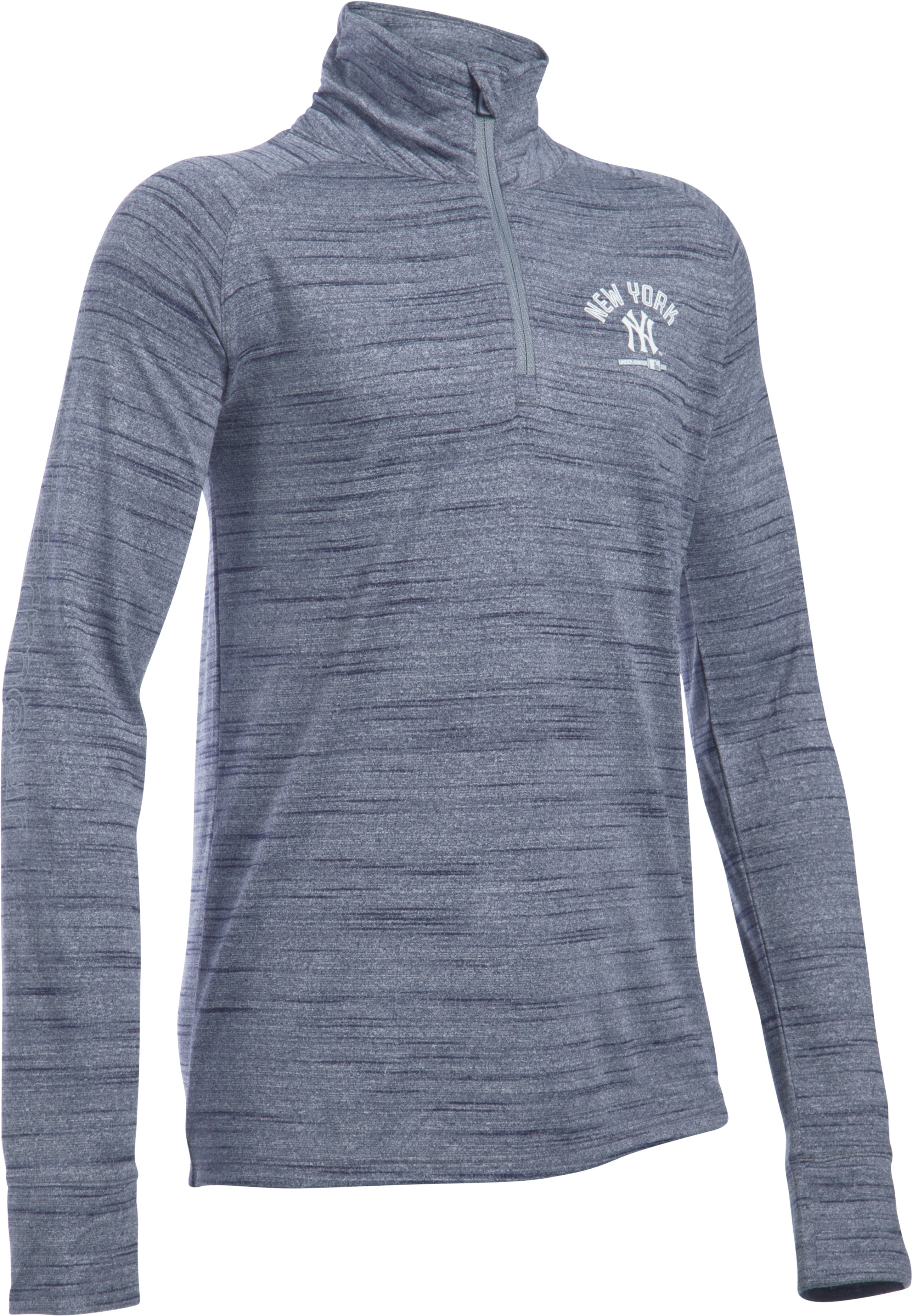 Girls' New York Yankees UA Tech™ 1/2 Zip, Midnight Navy, zoomed image