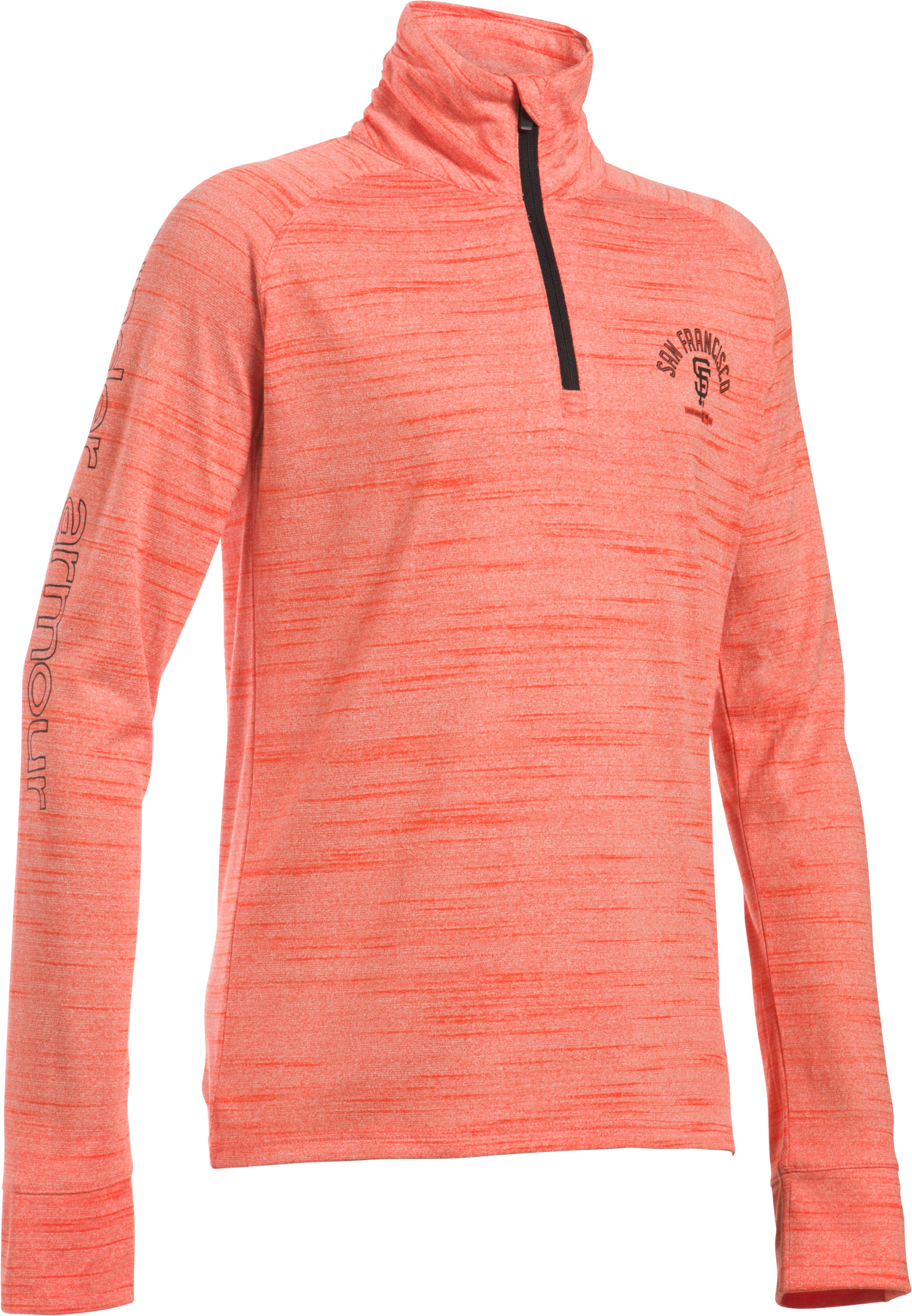 Girls' San Francisco Giants UA Tech™ 1/2 Zip, Dark Orange, undefined