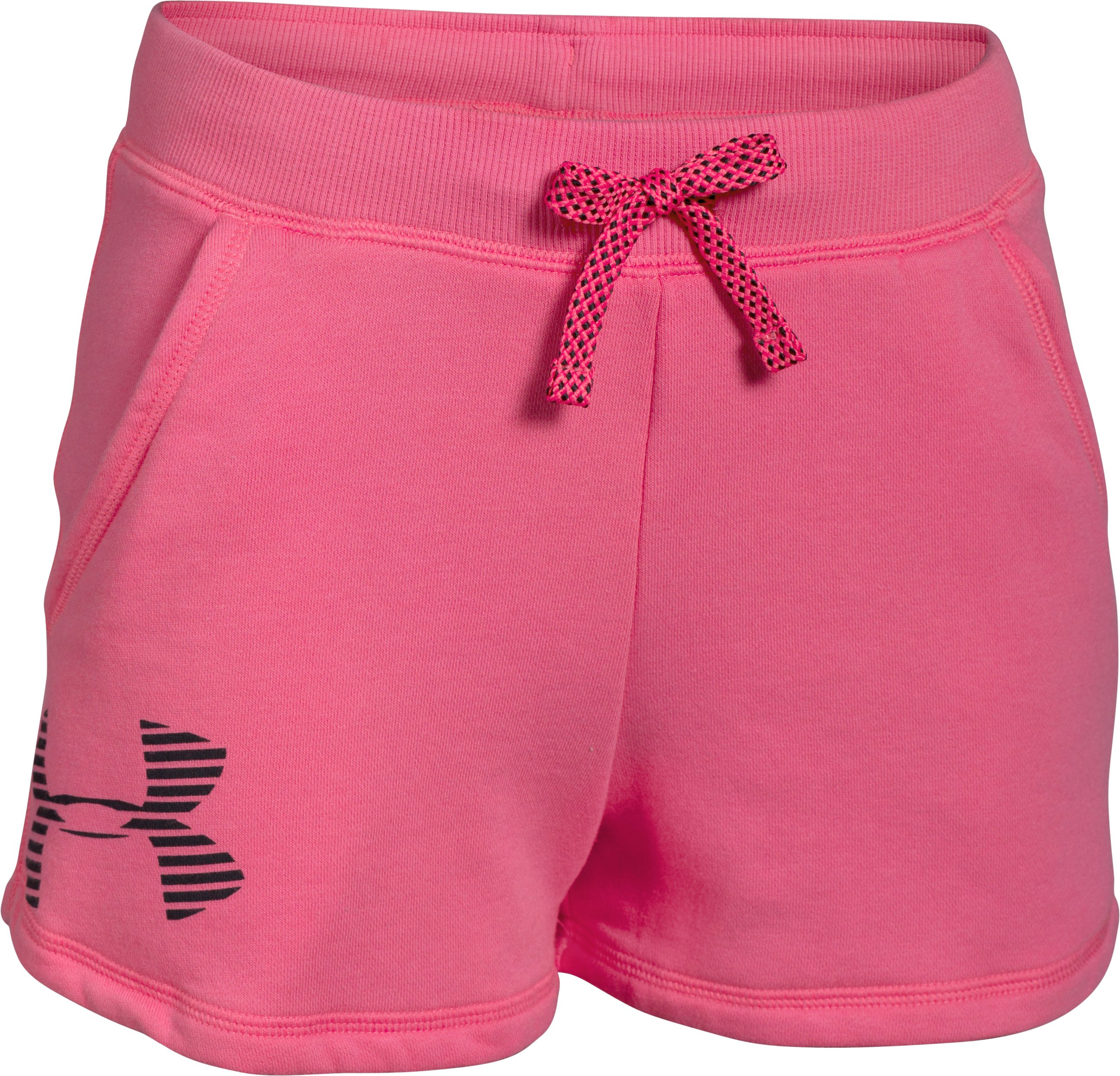 Girls' UA Favorite Fleece Shorts, SUPER PINK, zoomed image