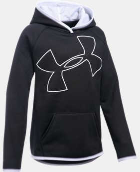 New Arrival  Girls' UA Armour® Fleece Jumbo Logo Hoodie  11 Colors $49.99