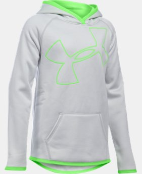 New to Outlet Girls' UA Armour® Fleece Jumbo Logo Hoodie LIMITED TIME OFFER 9 Colors $29.99