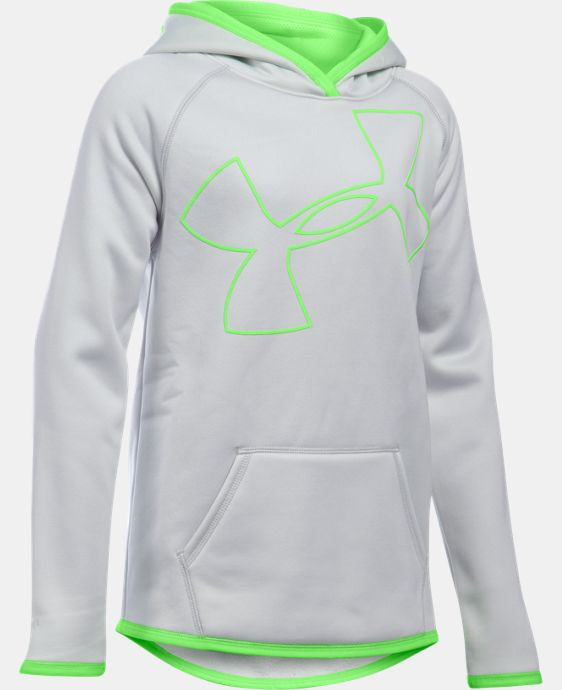 New Arrival  Girls' UA Armour® Fleece Jumbo Logo Hoodie  4 Colors $49.99