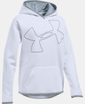 New to Outlet Girls' UA Armour® Fleece Jumbo Logo Hoodie LIMITED TIME OFFER 2 Colors $29.99