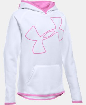 New Arrival Girls' UA Armour® Fleece Jumbo Logo Hoodie  3 Colors $44.99
