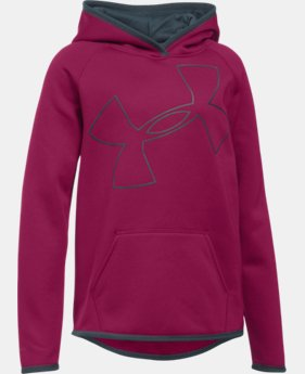 New Arrival Girls' UA Armour® Fleece Jumbo Logo Hoodie  2 Colors $44.99