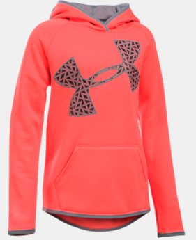 New Arrival Girls' UA Armour® Fleece Jumbo Logo Hoodie  1 Color $44.99