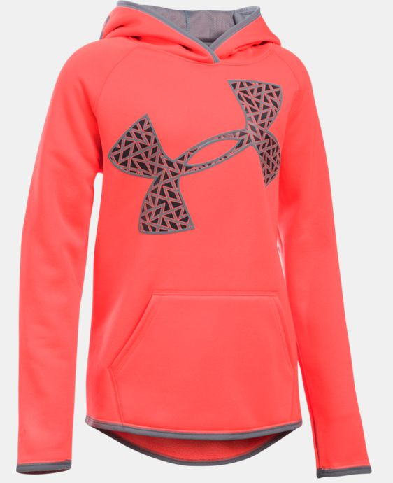New Arrival Girls' UA Armour® Fleece Jumbo Logo Hoodie   $44.99