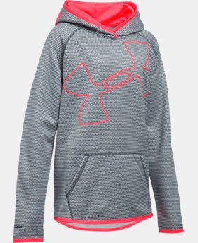 New to Outlet Girls' UA Armour® Fleece Jumbo Logo Hoodie  4 Colors $28.49 to $37.99