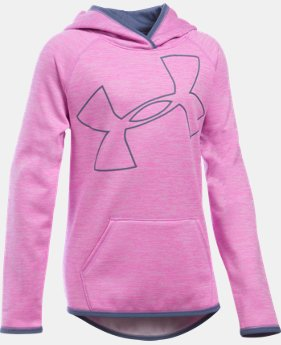 Best Seller Girls' UA Armour® Fleece Novelty Jumbo Logo Hoodie  3 Colors $49.99