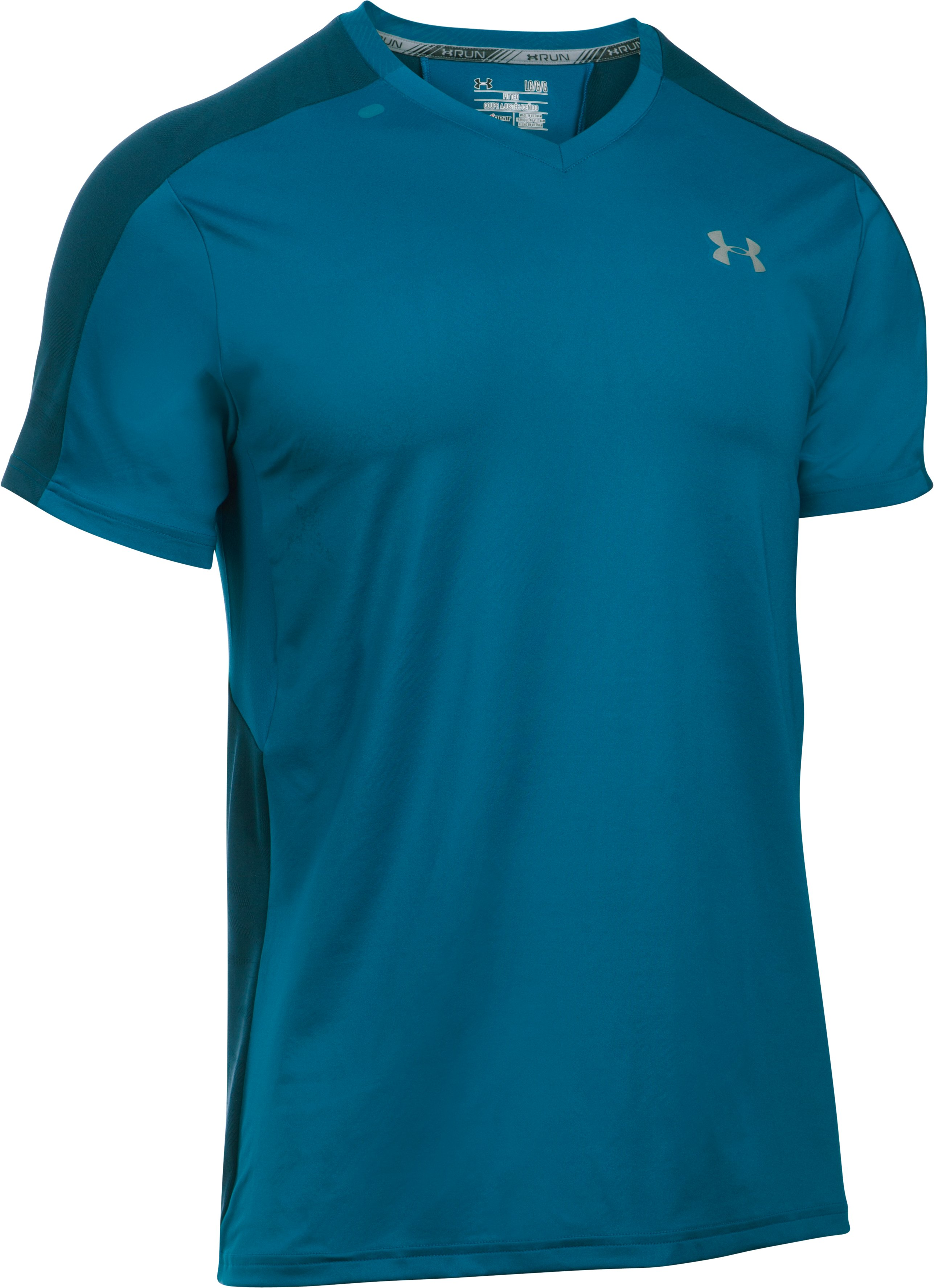 Men's UA CoolSwitch Run V-Neck, PEACOCK